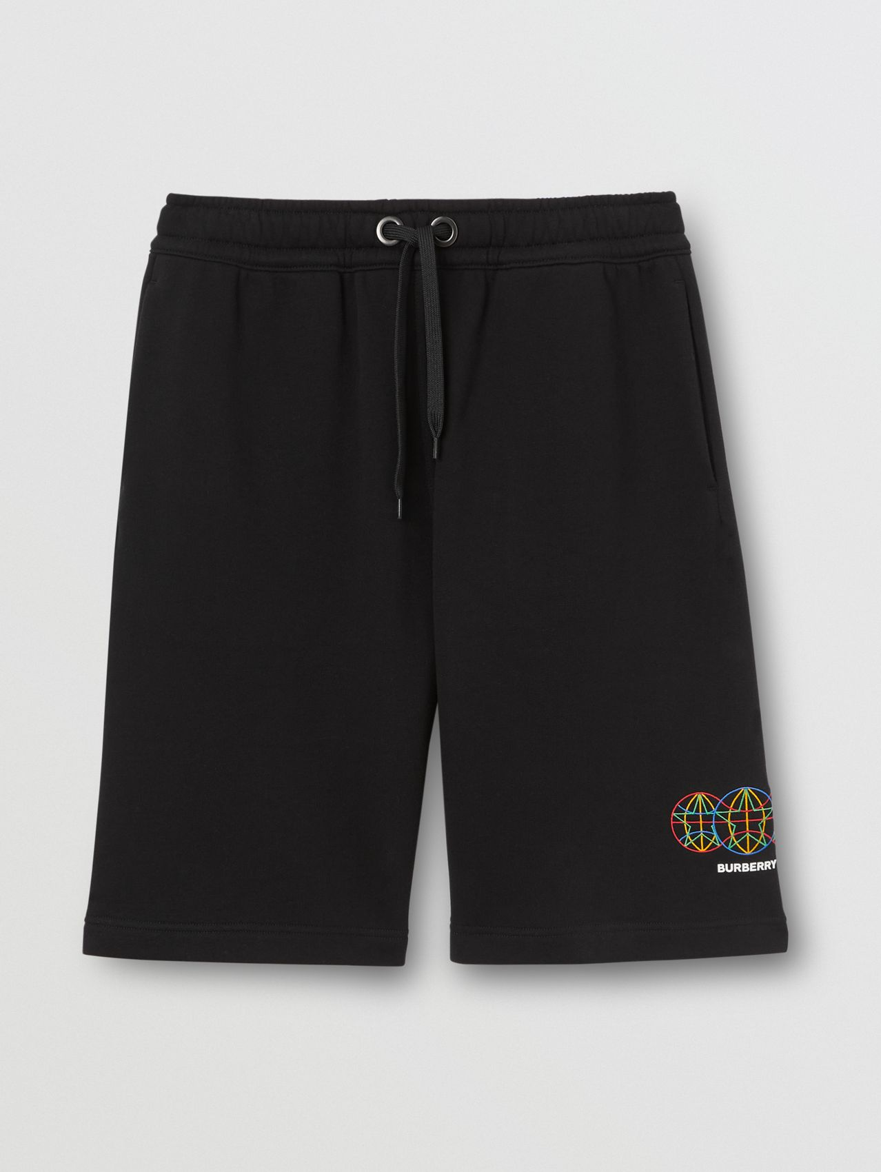 Embroidered Globe Graphic Drawcord Shorts in Black