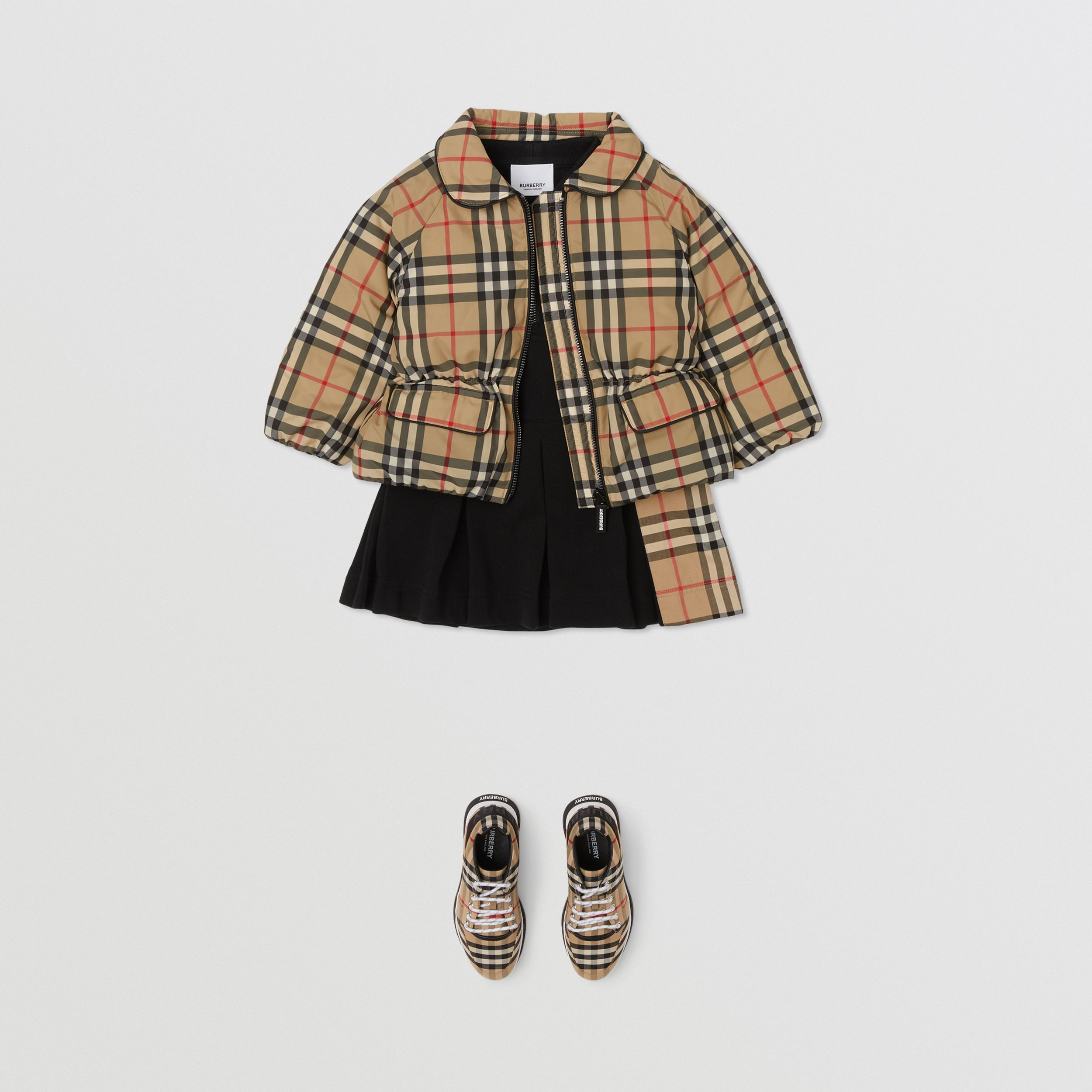 Vintage Check Down-filled Recycled Polyester Jacket in Archive Beige - Children | Burberry United States - 3