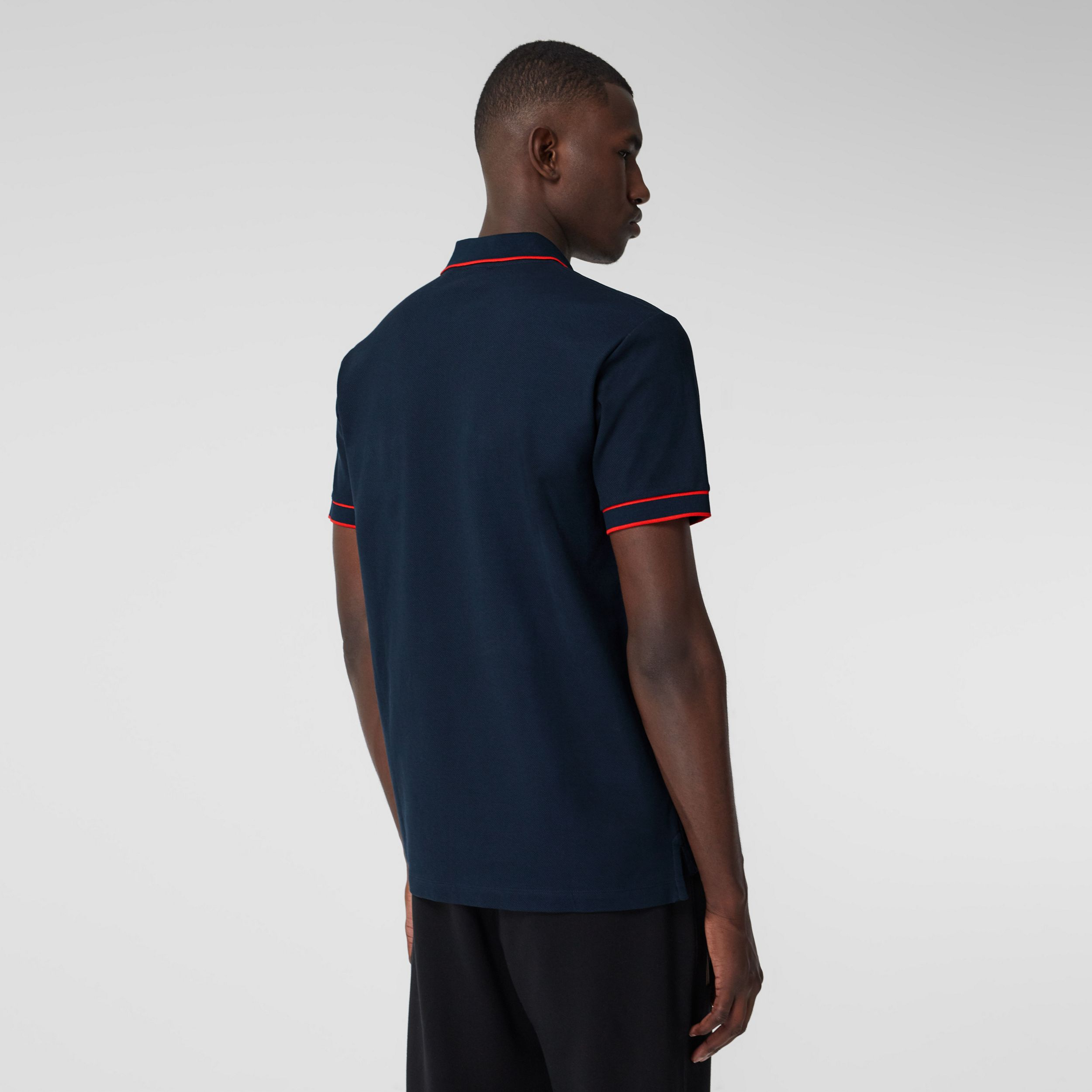 Icon Stripe Detail Cotton Zip-front Polo Shirt in Navy - Men | Burberry Australia - 3
