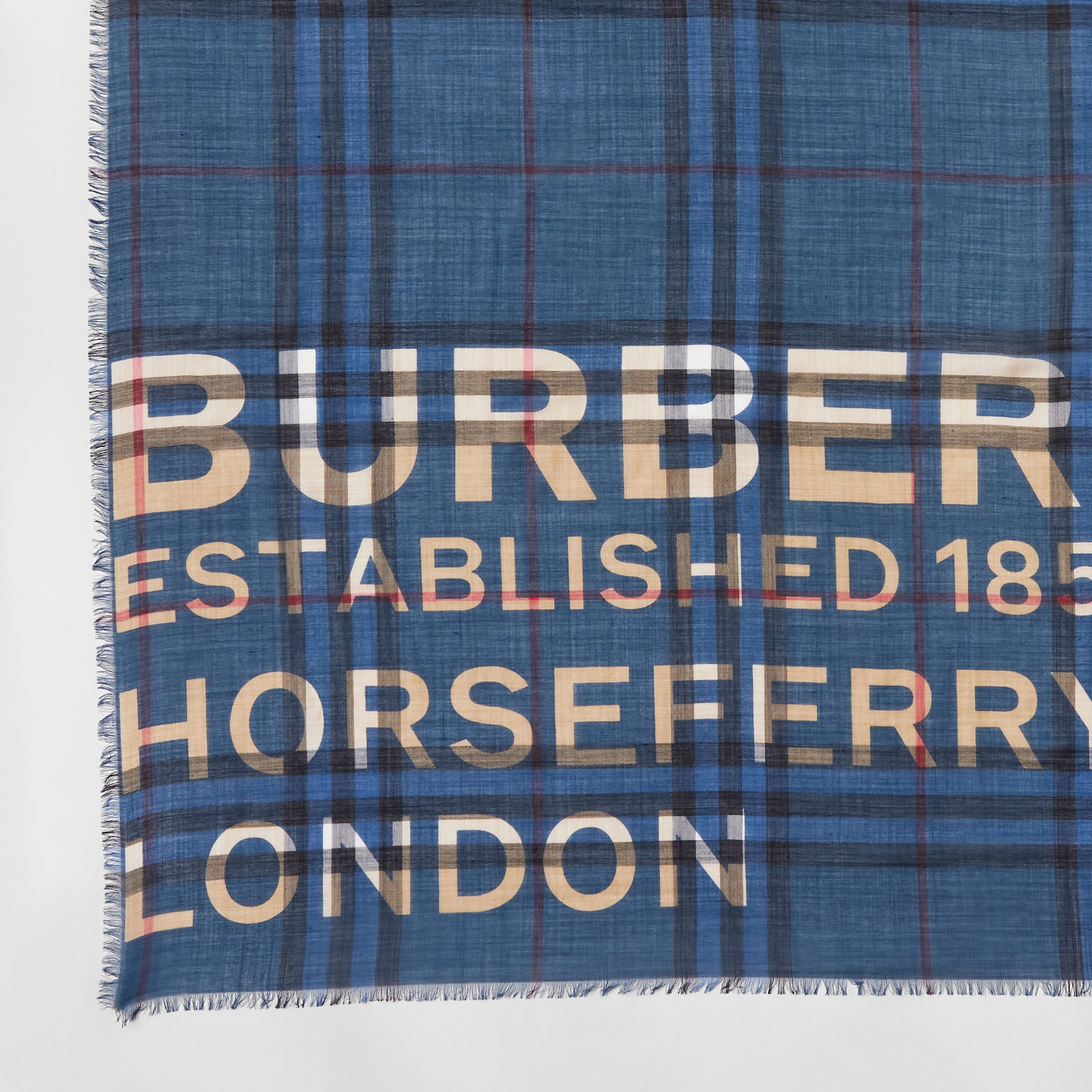 Horseferry Print Check Wool Silk Large Square Scarf in Ink Blue | Burberry - 2