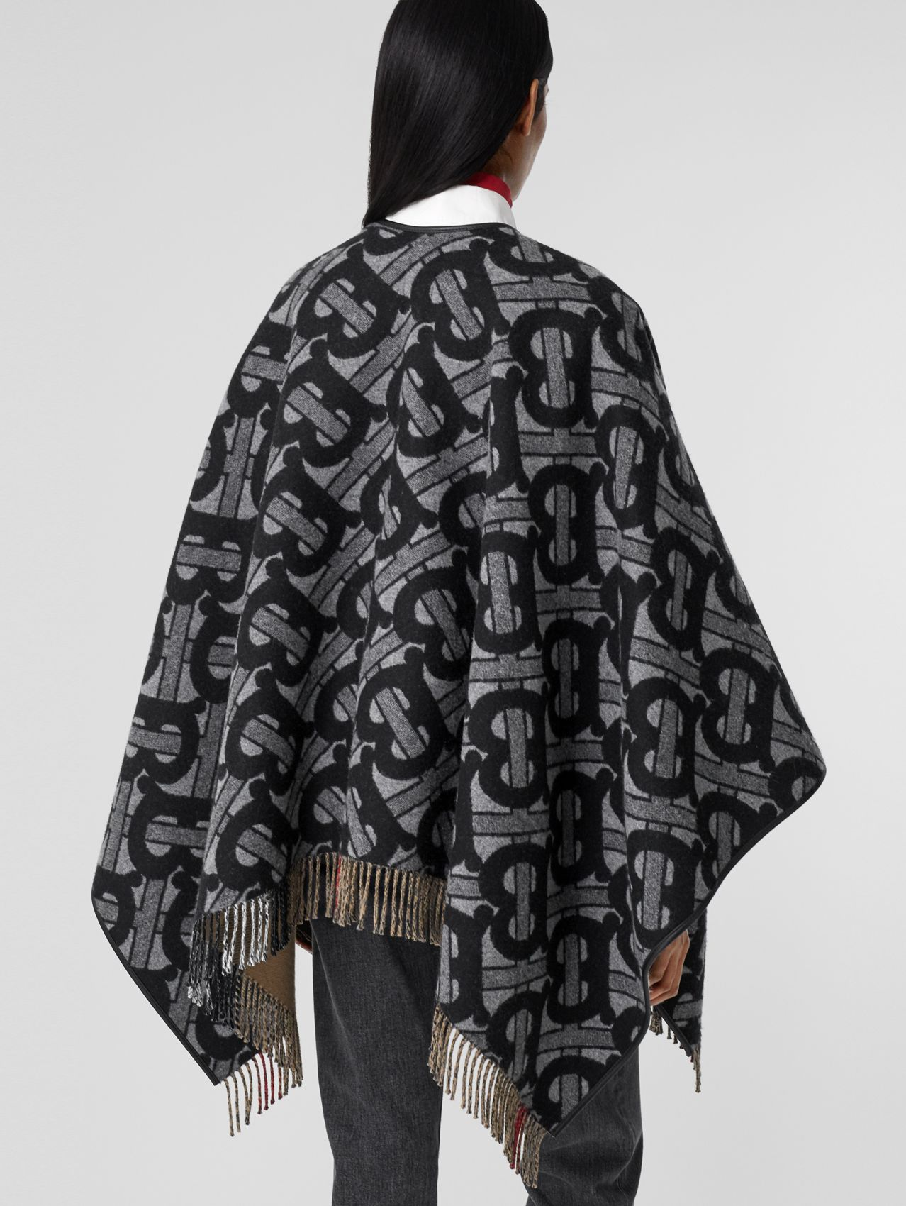 Monogram Merino Wool Cashmere Jacquard Cape in Graphite