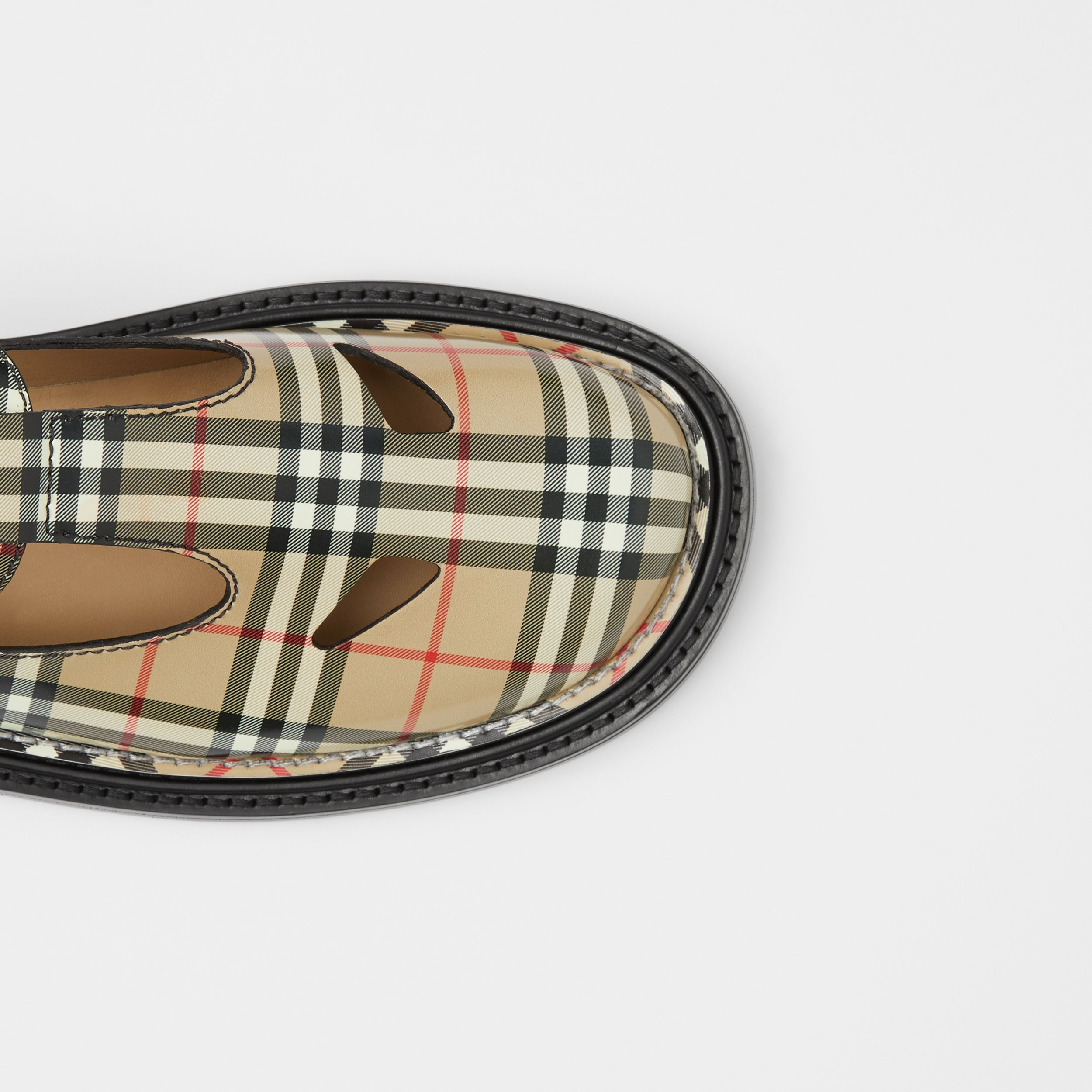 Vintage Check Leather T-bar Shoes in Archive Beige - Women | Burberry - 2