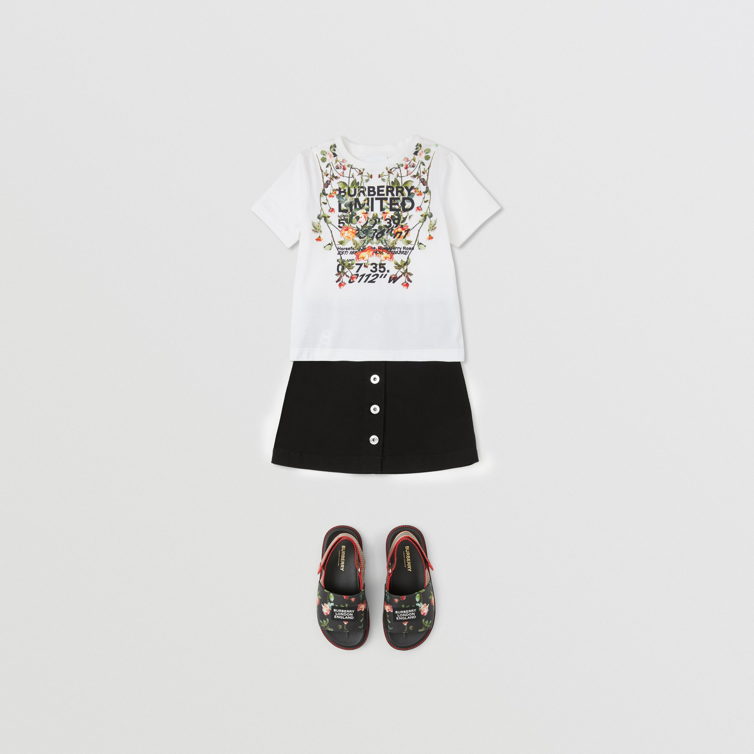 Montage Print Cotton T-shirt in White | Burberry - 4