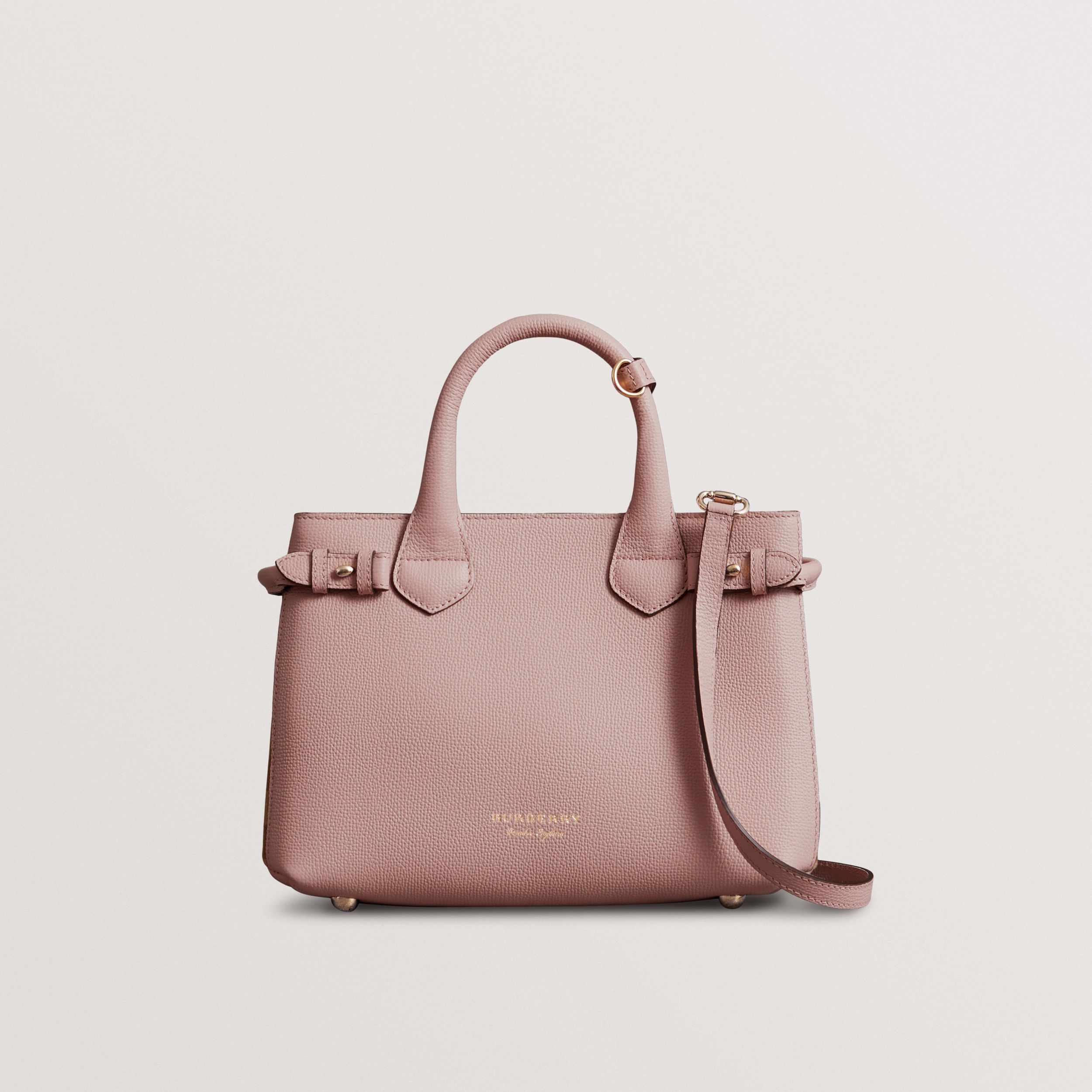 The Small Banner in Leather and House Check in Pale Orchid - Women | Burberry - 1