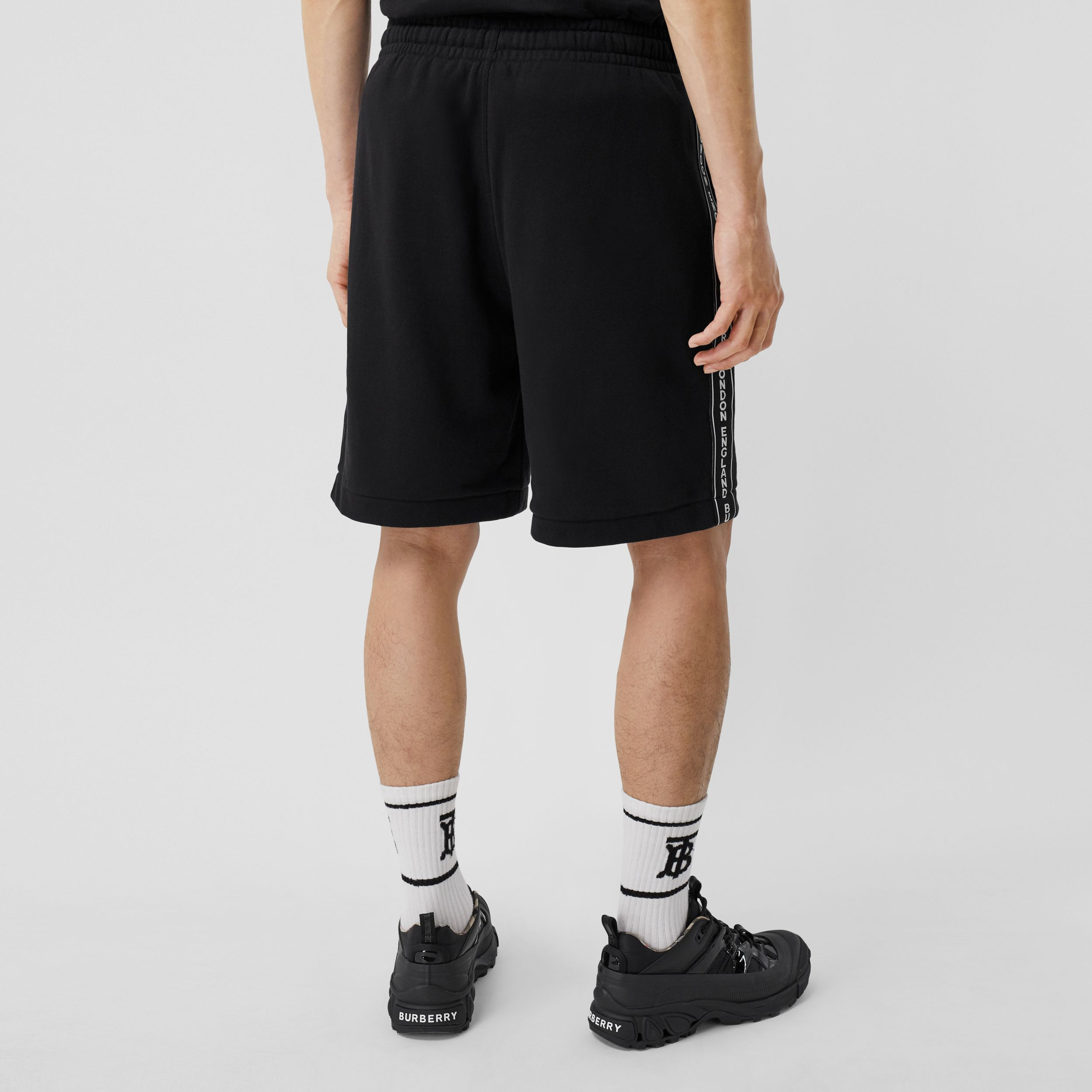 Logo Tape Cotton Drawcord Shorts in Black - Men | Burberry Australia - 3