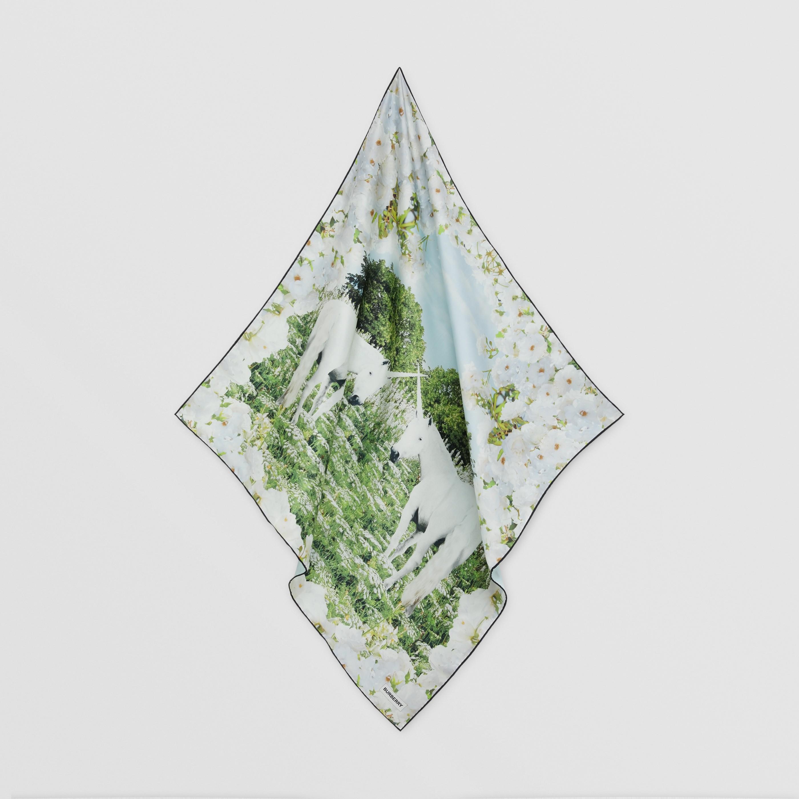 Foulard in seta con stampa prato (Bianco) | Burberry - 5
