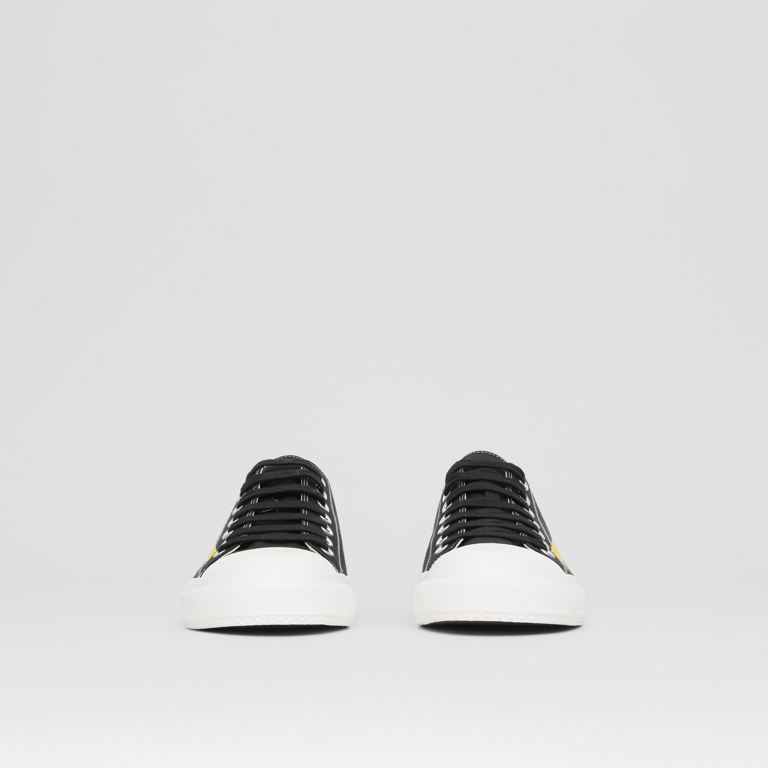 Logo Print Two-tone Cotton Gabardine Sneakers in Black - Men | Burberry Canada - 4
