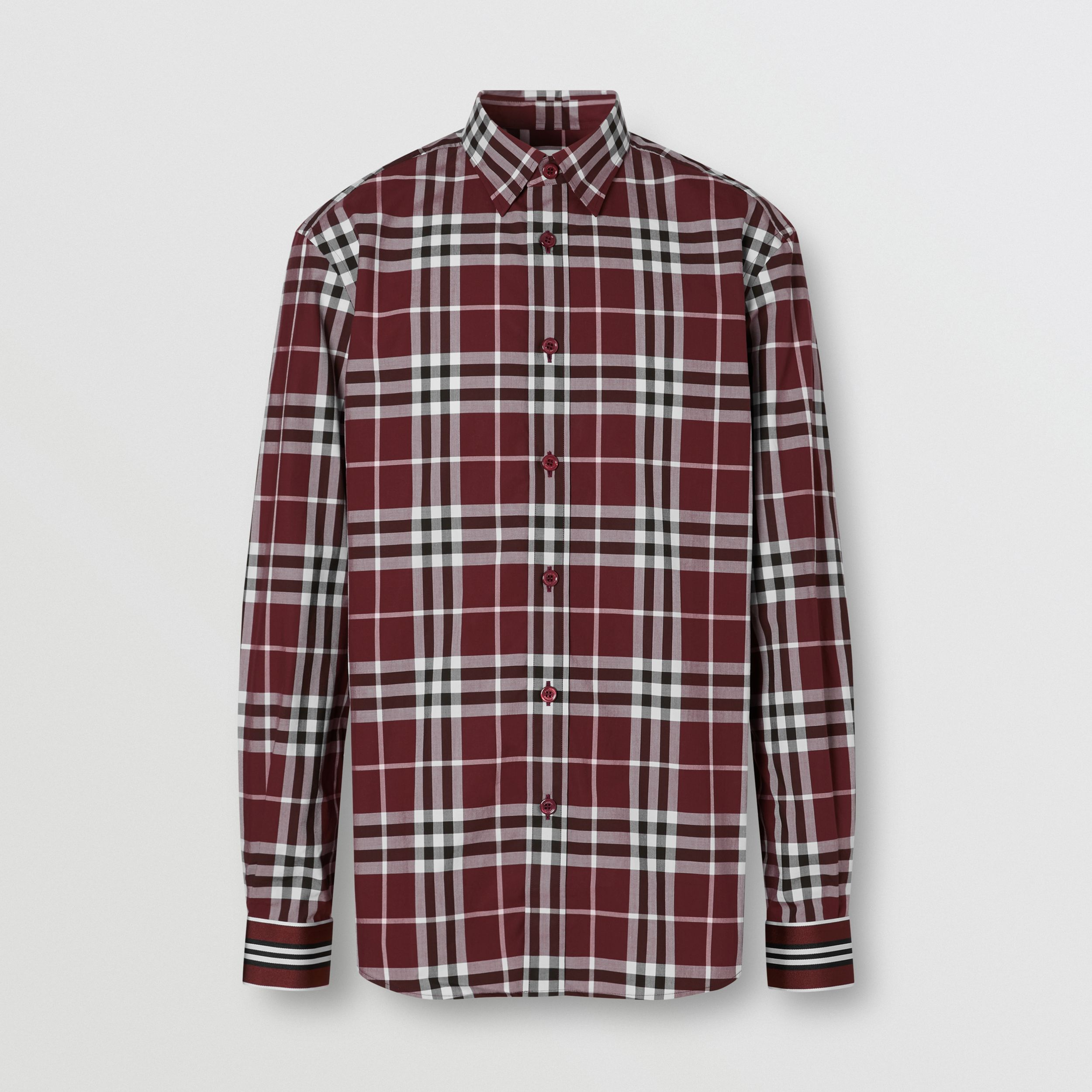 Stripe Cuff Check Cotton Shirt in Burgundy Red - Men | Burberry - 4