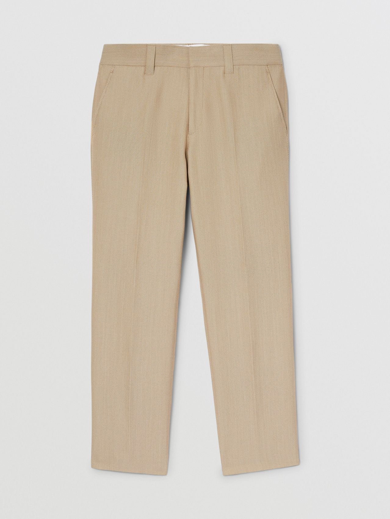 Technical Wool Canvas Cropped Tailored Trousers in Dusty Sand