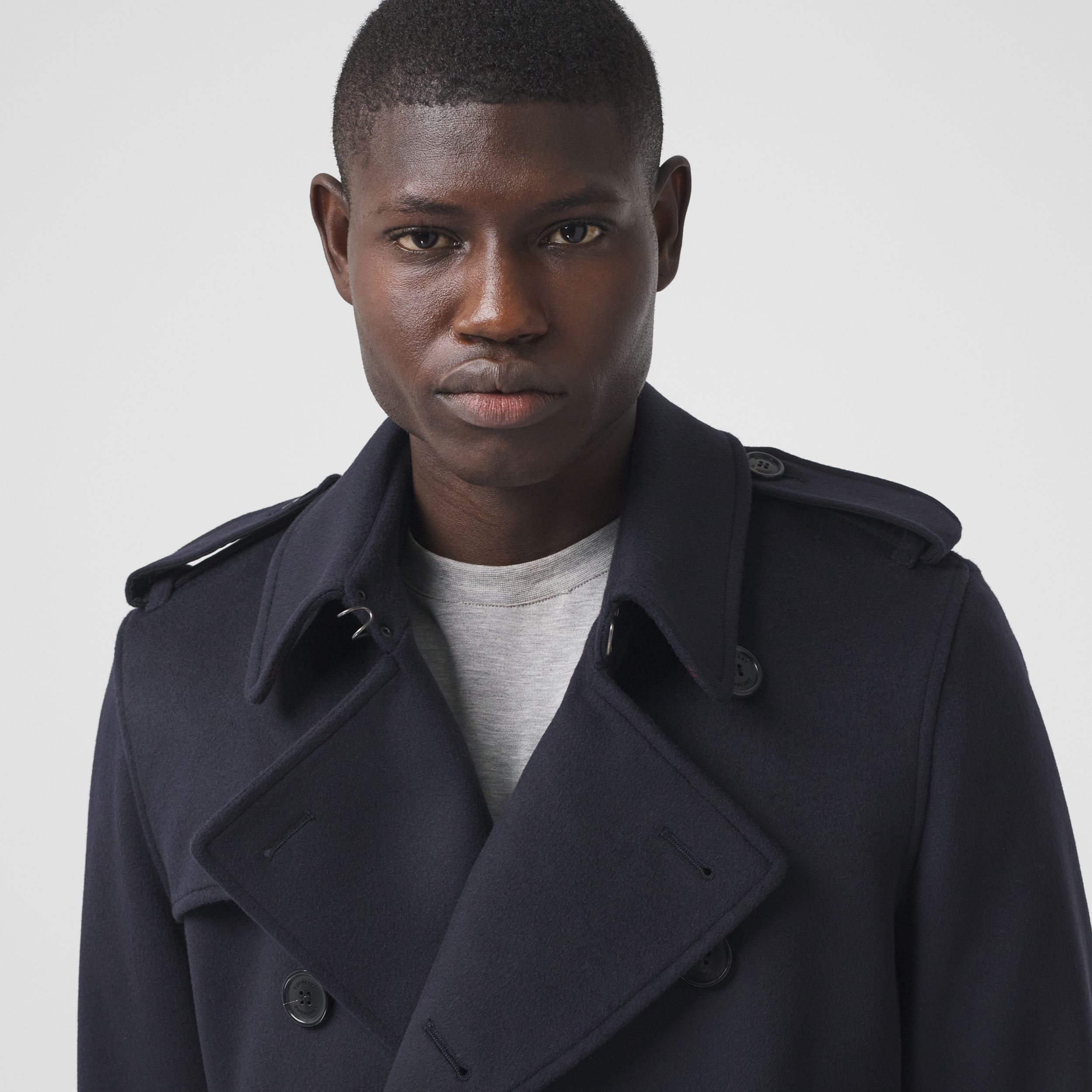 Wool Cashmere Trench Coat in Navy - Men | Burberry Canada - 2