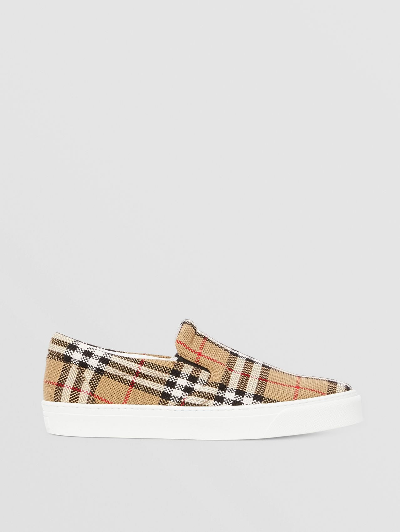 Latticed Cotton Slip-on Sneakers (Archive Beige)