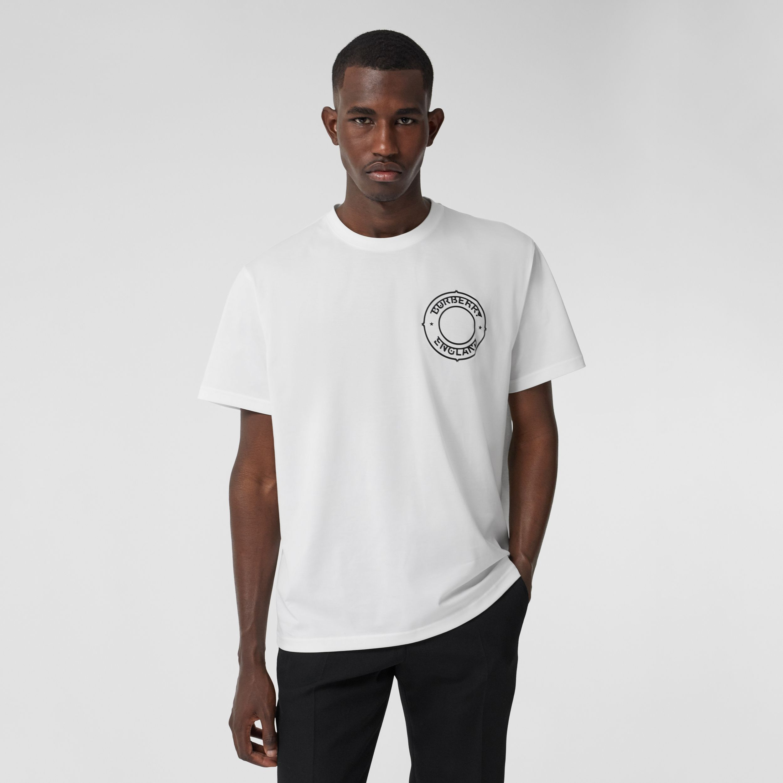 Logo Graphic Cotton Oversized T-shirt in White - Men | Burberry United Kingdom - 1