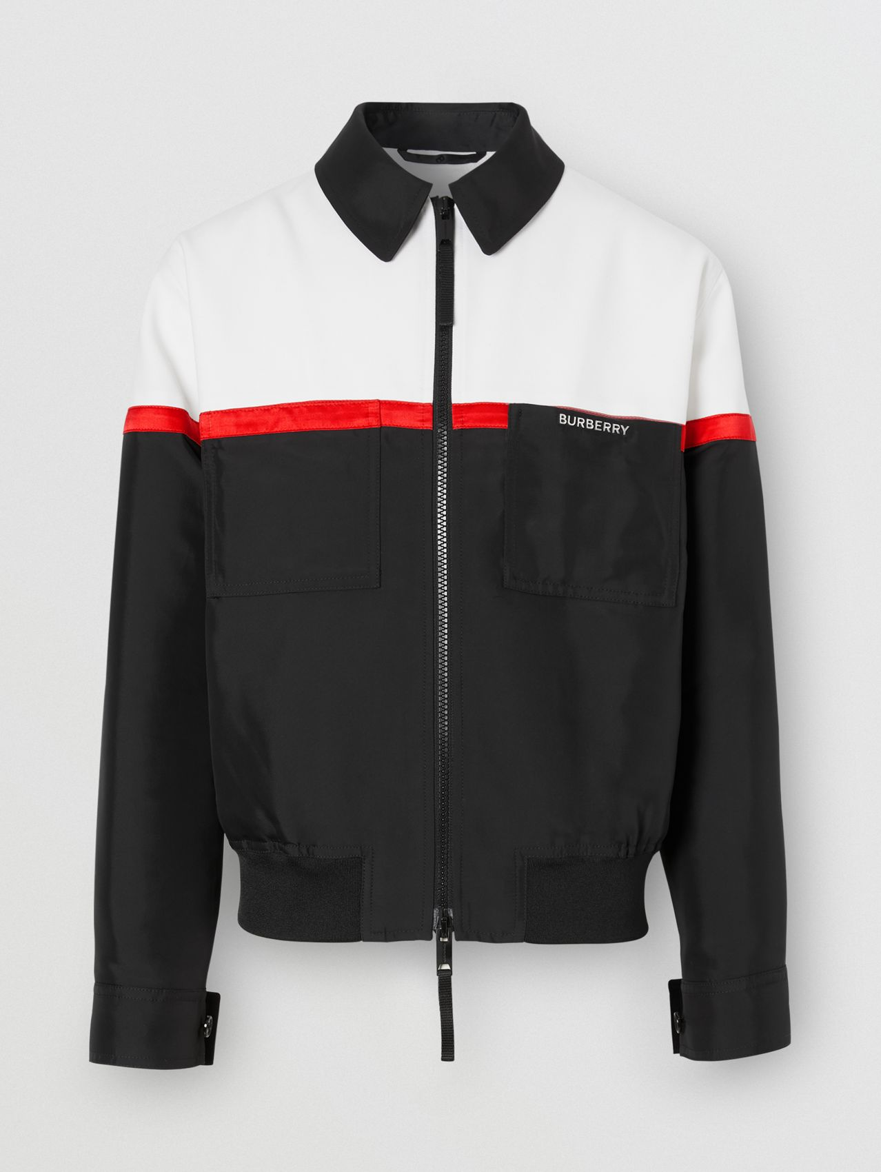 Veste Harrington en laine technique tricolore (Blanc Optique)