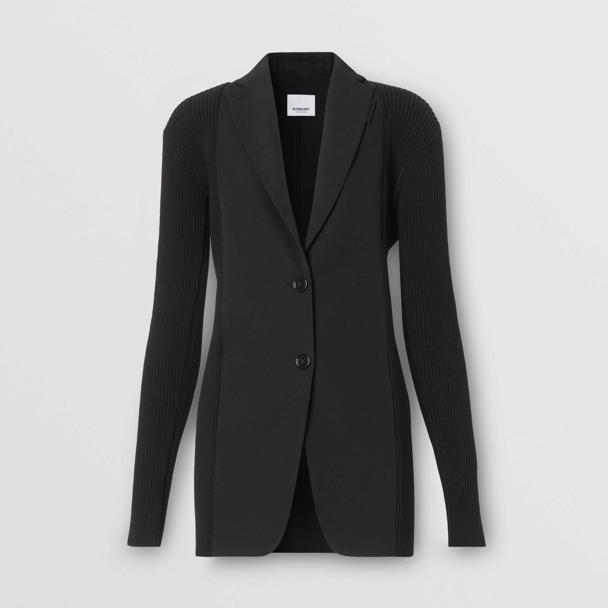 Rib Kit Panel Grain De Poudre Wool Tailored Jacket in Black - Women | Burberry - 4