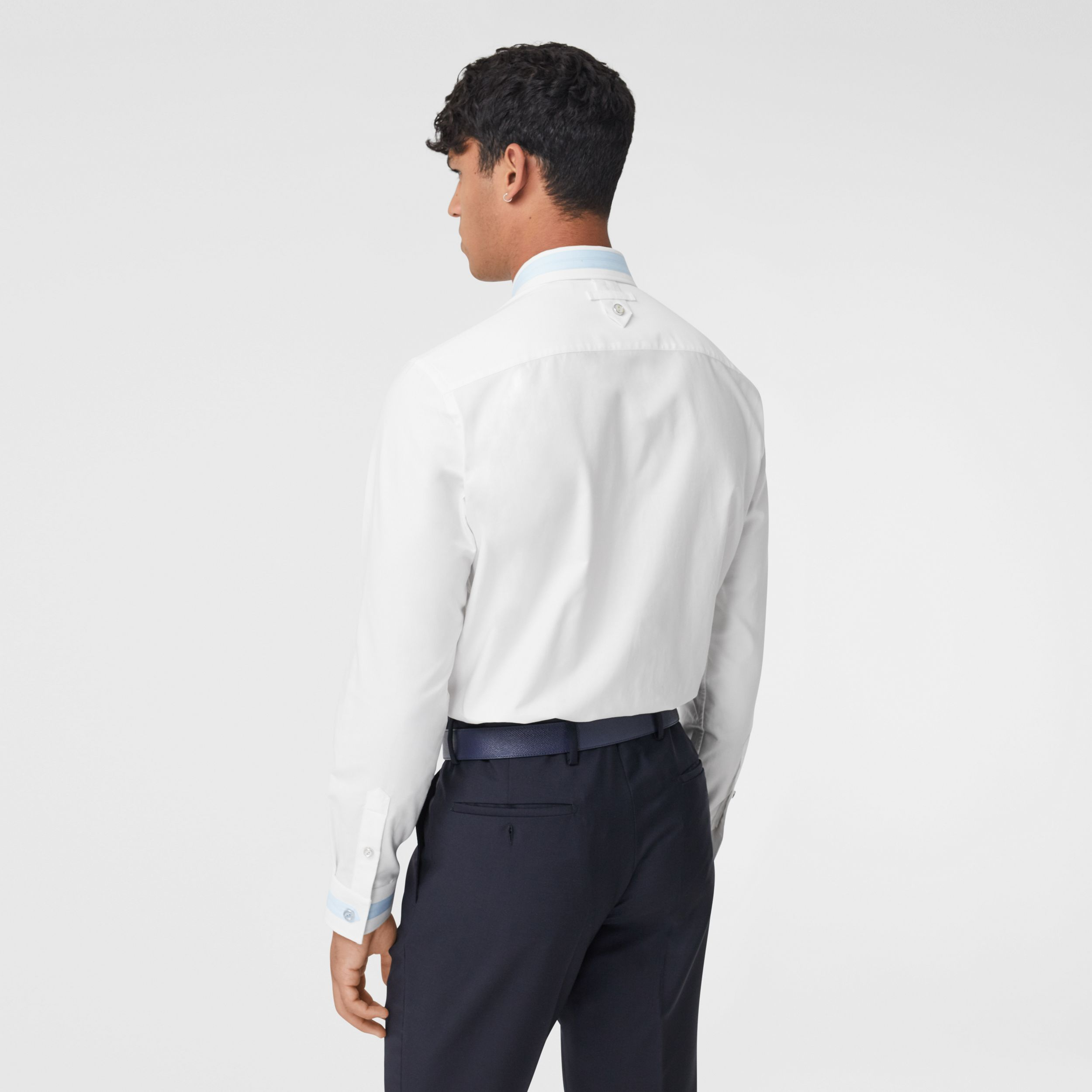 Slim Fit Cotton Oxford Shirt in White - Men | Burberry Australia - 3