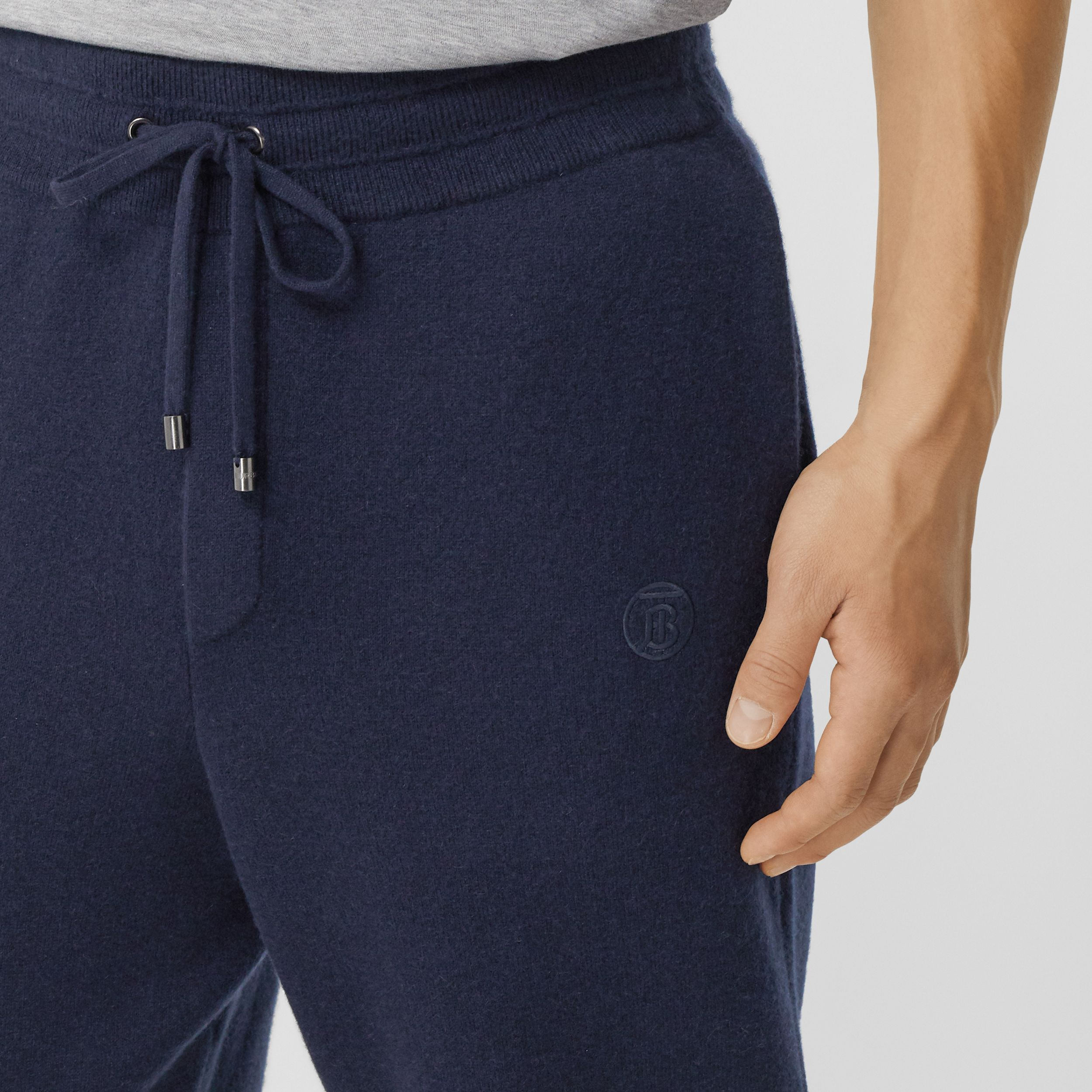 Monogram Motif Cashmere Blend Jogging Pants in Navy - Men | Burberry - 2
