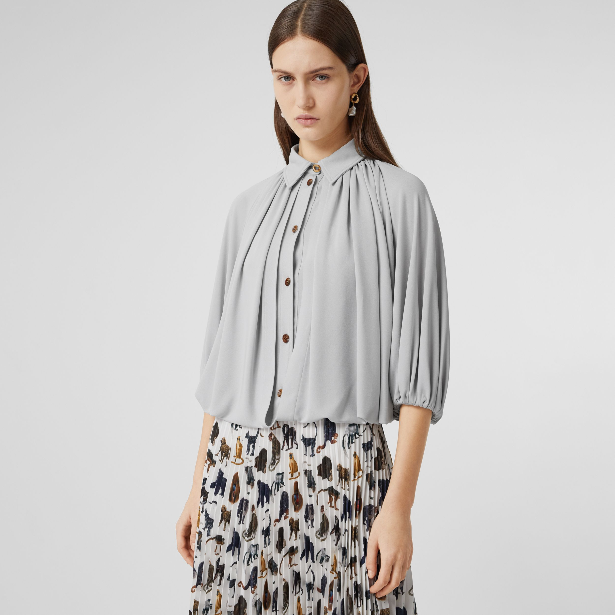 Gathered Jersey Bubble Hem Blouse in Light Pebble Grey - Women | Burberry - 1
