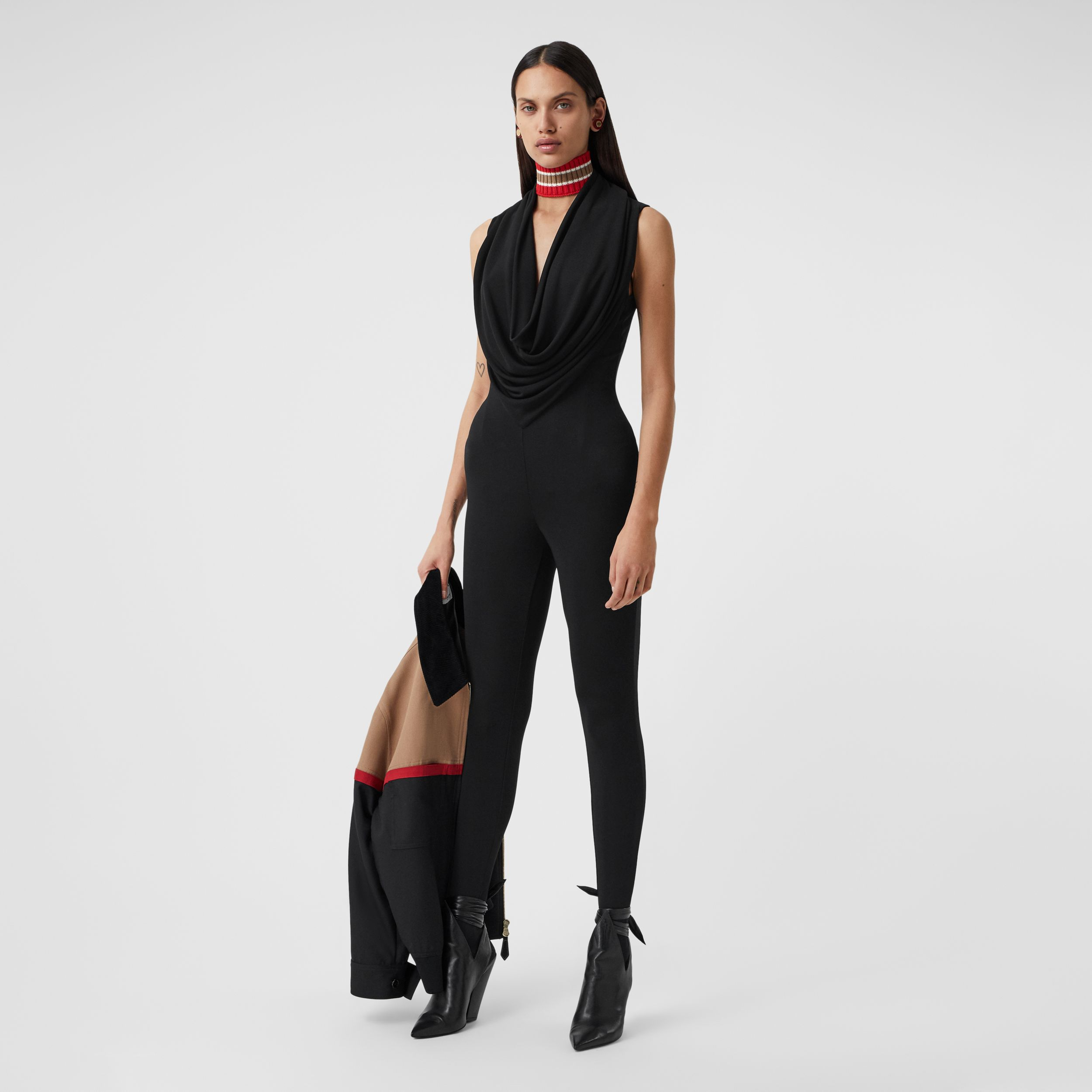 Shawl Neck Crepe Jersey Jumpsuit in Black - Women | Burberry - 1