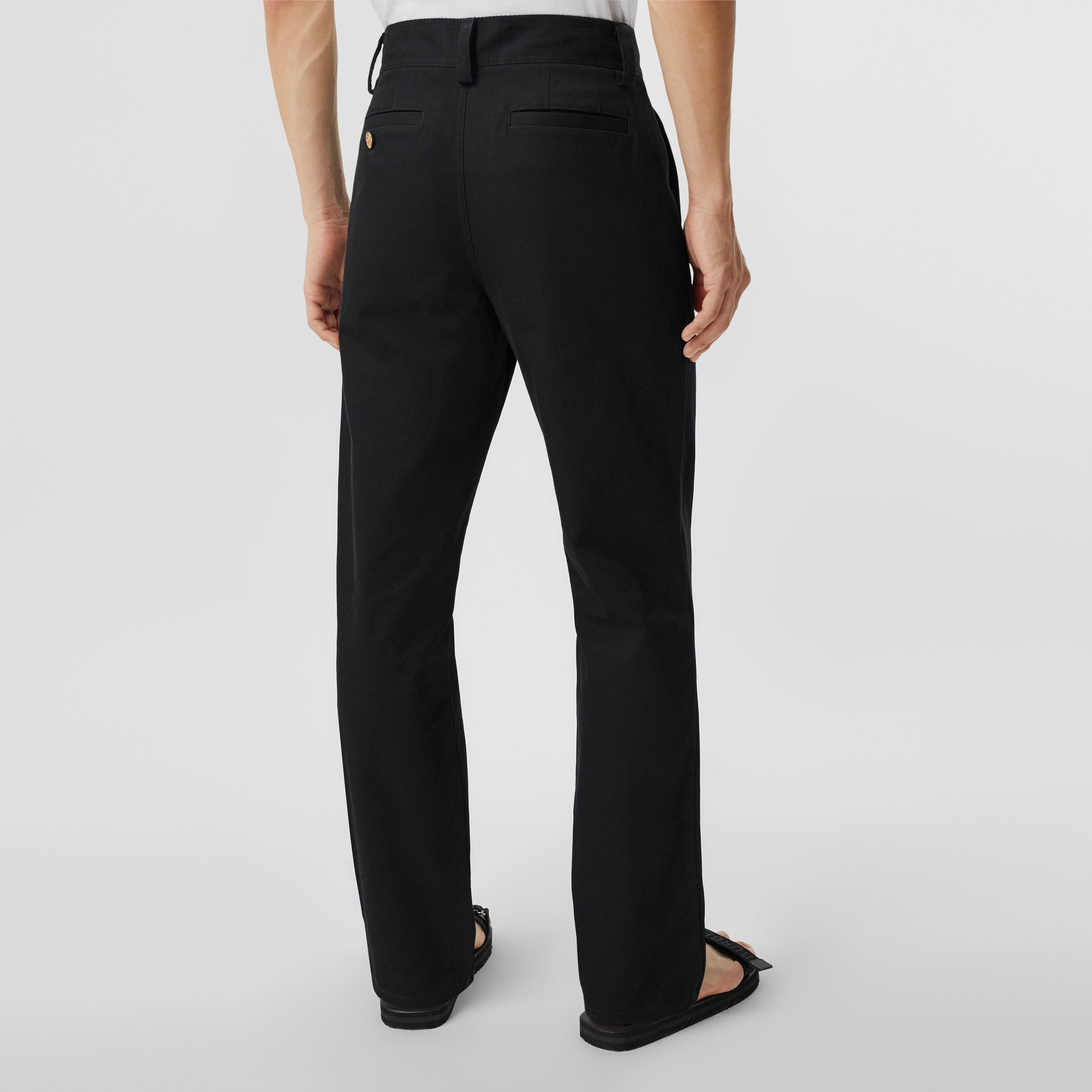 Straight Fit Logo Detail Cotton Chinos in Black - Men | Burberry - 3