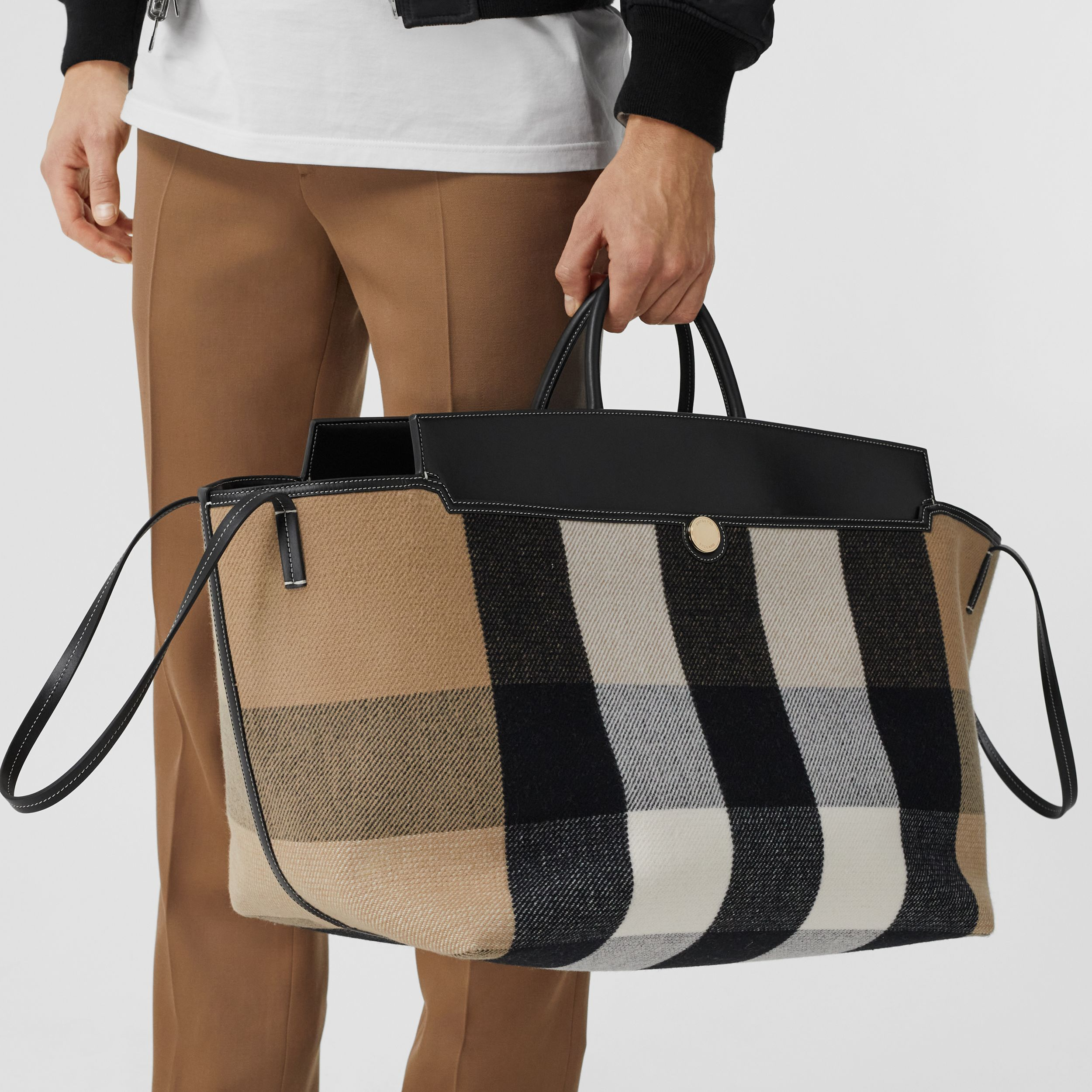 Check Merino Wool Cashmere Society Holdall in Archive Beige | Burberry United Kingdom - 4