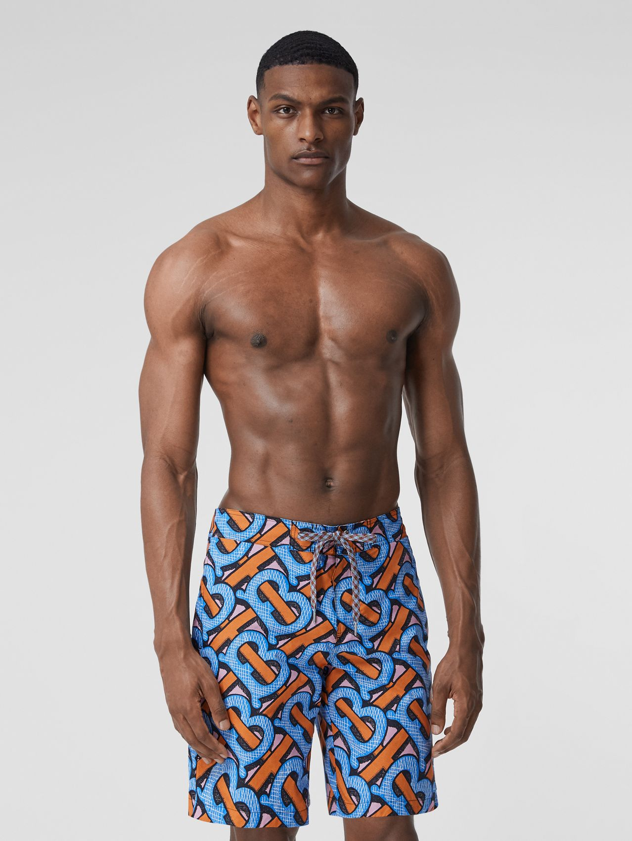 Monogram Print Swim Shorts in Bright Cobalt