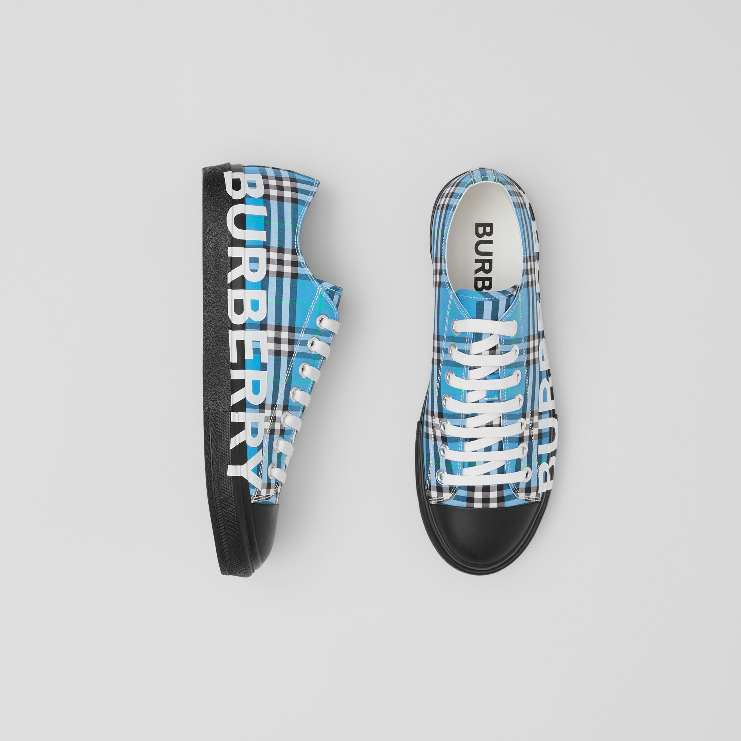 Logo Print Check Cotton Sneakers in Blue Azure - Men | Burberry - 1