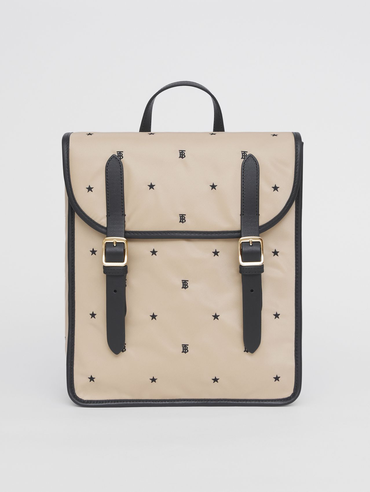 Star and Monogram Motif ECONYL® Satchel in Archive Beige