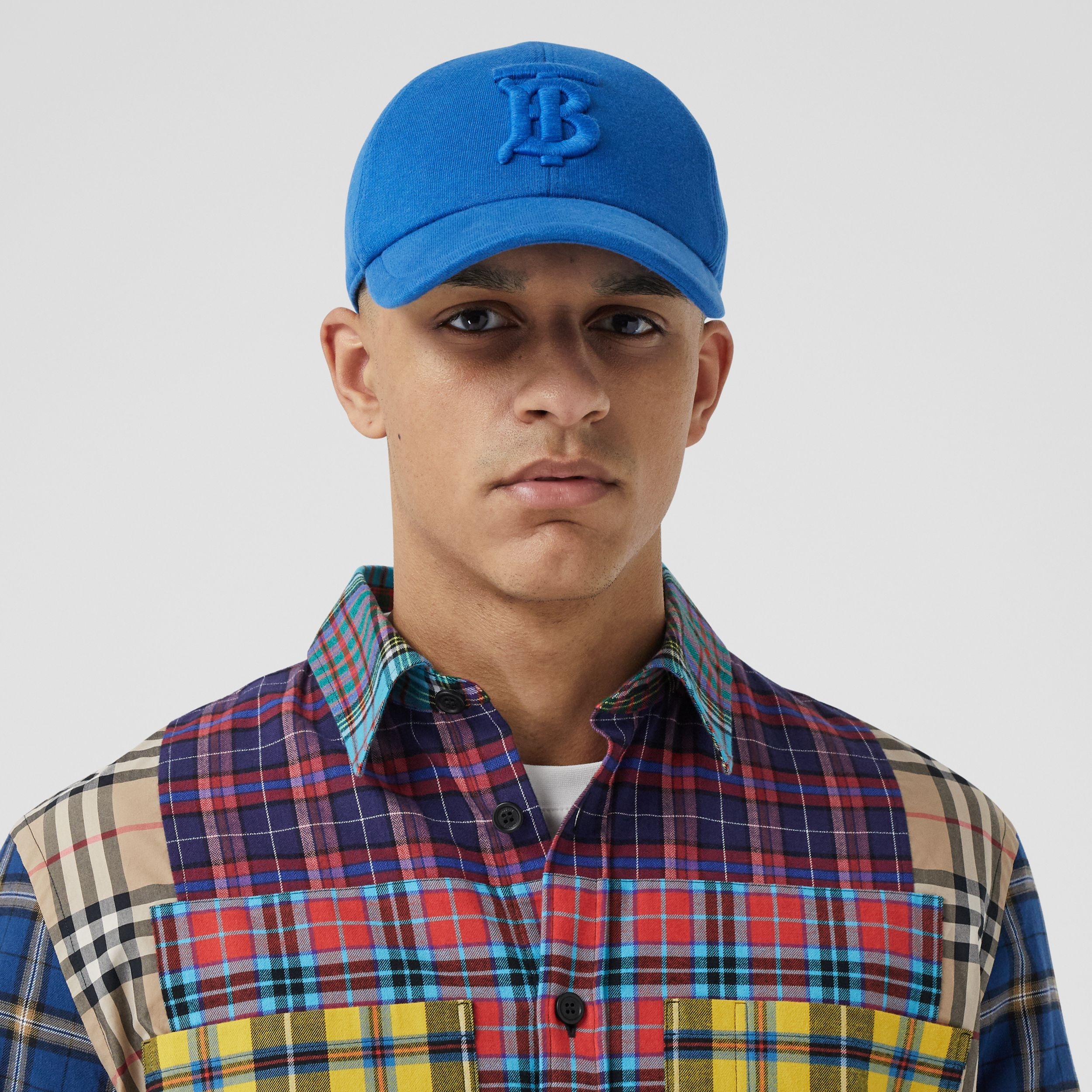 Monogram Motif Jersey Baseball Cap in Vibrant Blue | Burberry - 4