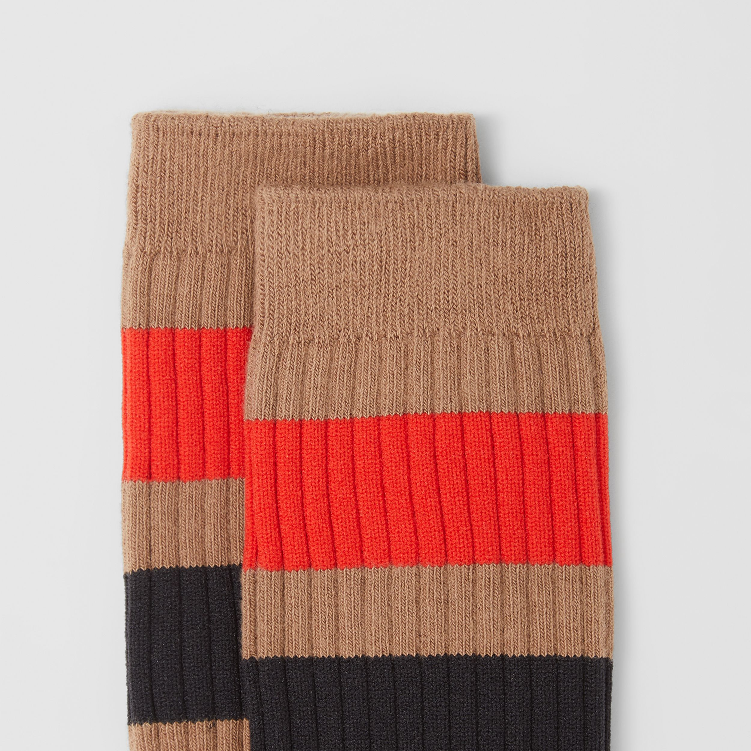 Striped Cotton Blend Socks in Warm Camel | Burberry - 2