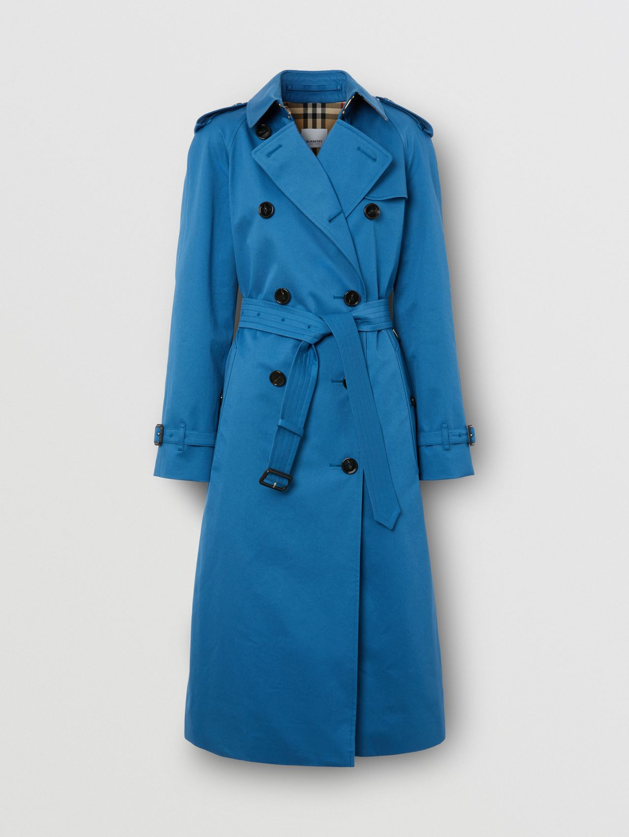 Cotton Gabardine Trench Coat in Dark Cerulean Blue
