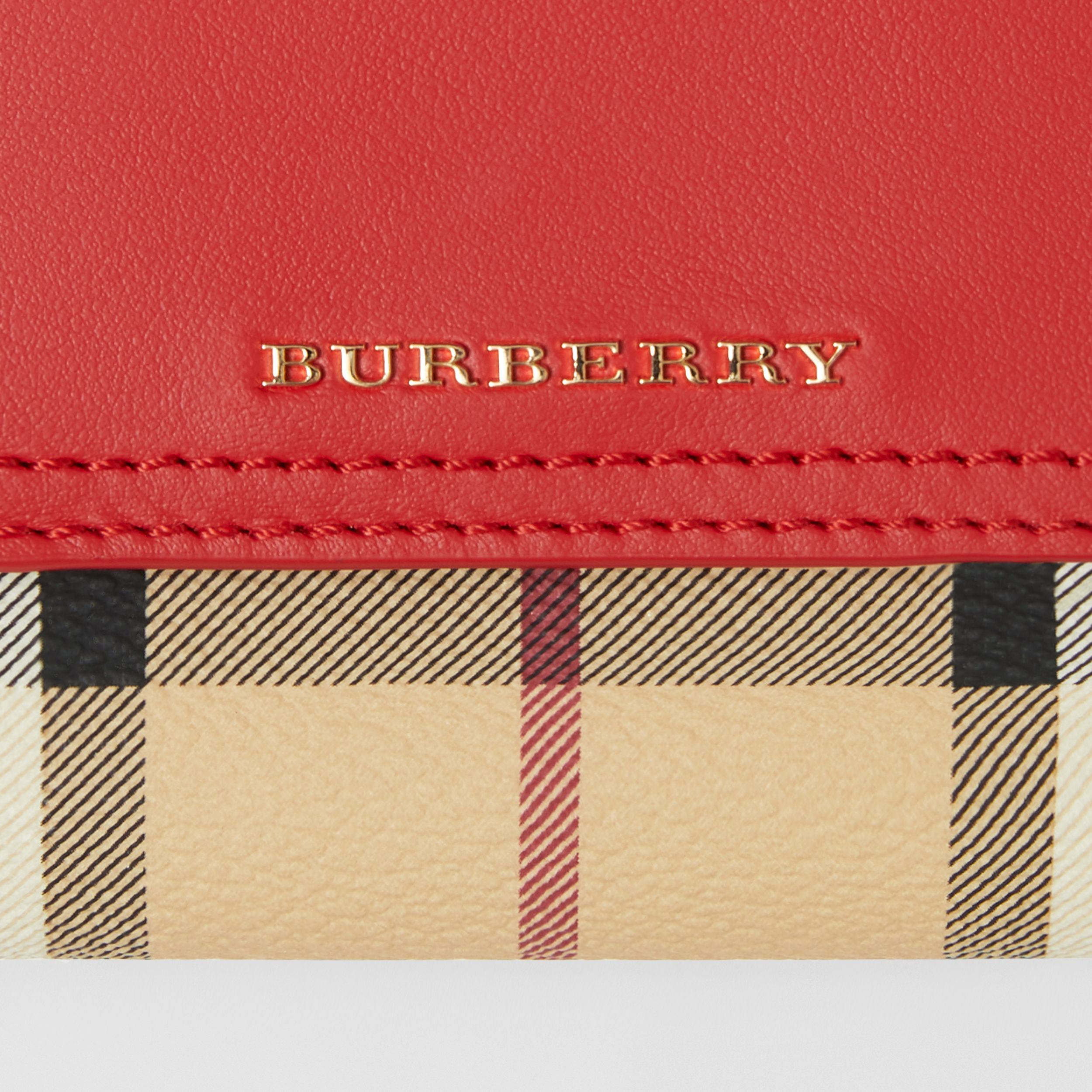 Haymarket Check E-canvas and Leather Wallet in Bright Red - Women | Burberry - 2