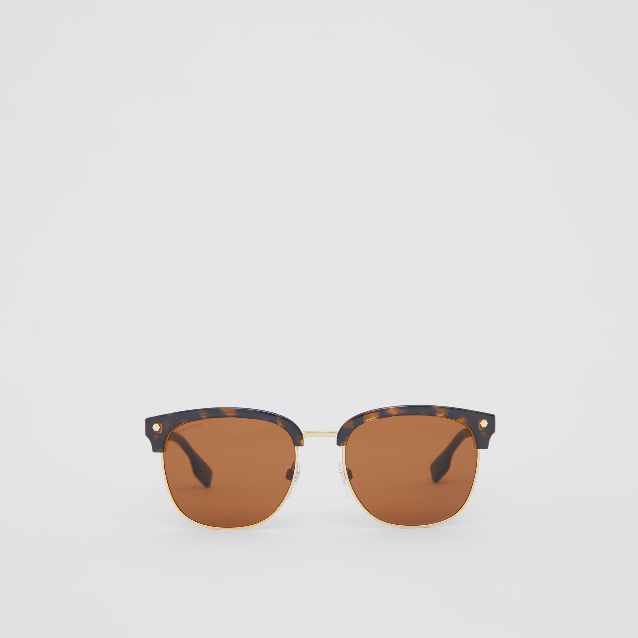 Icon Stripe Detail Square Frame Sunglasses in Tortoiseshell - Men | Burberry - 1