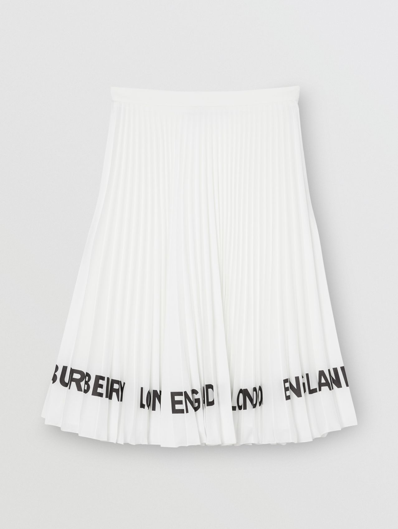 Logo Print Crepe De Chine Pleated Skirt in White