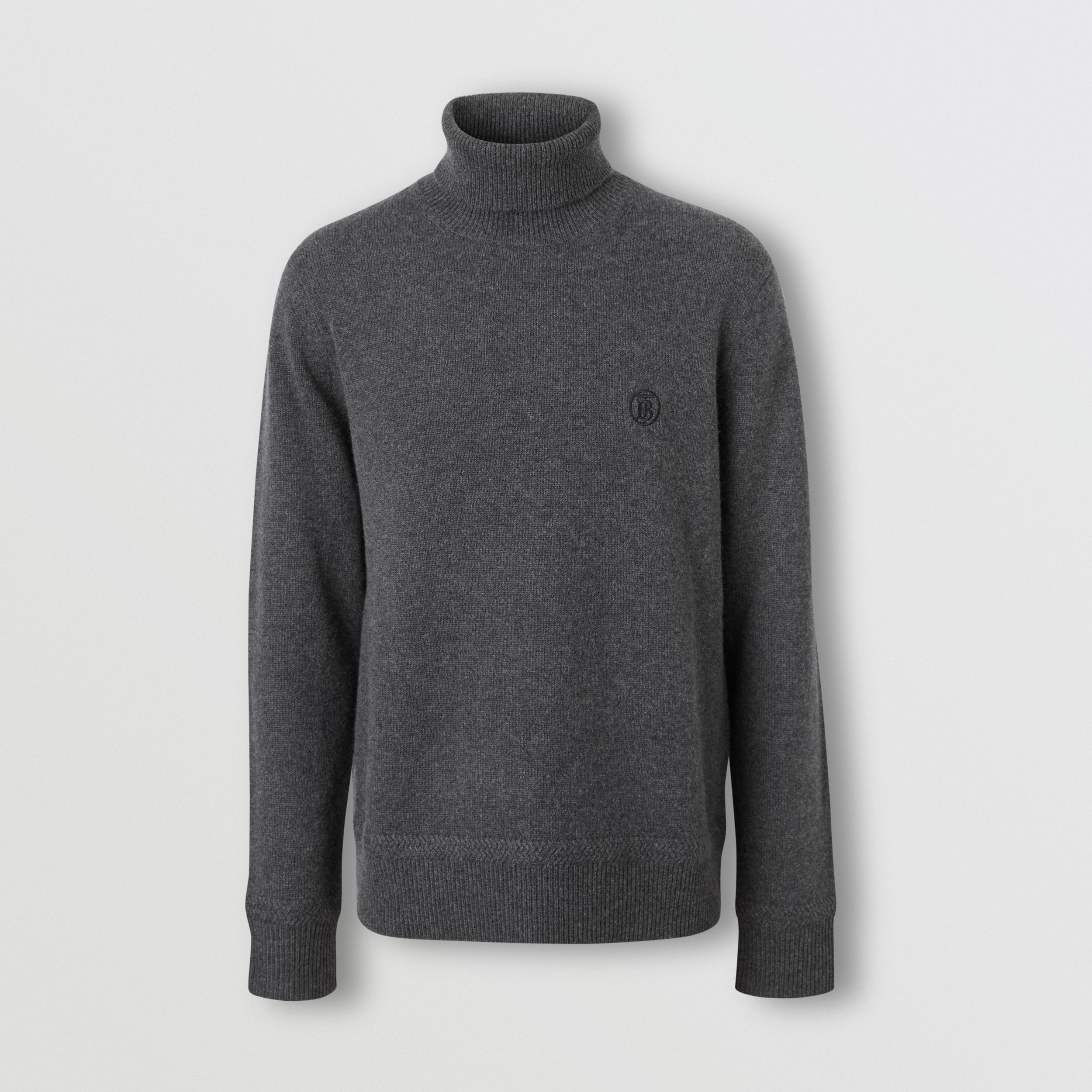 Monogram Motif Cashmere Roll-neck Sweater in Charcoal - Men | Burberry Australia - 4