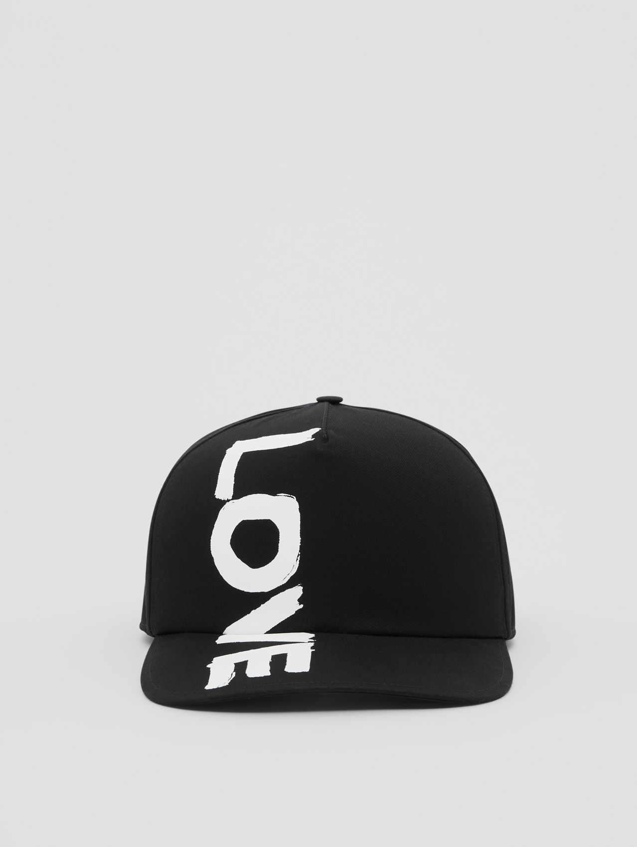 Love Print Cotton Gabardine Baseball Cap in Black