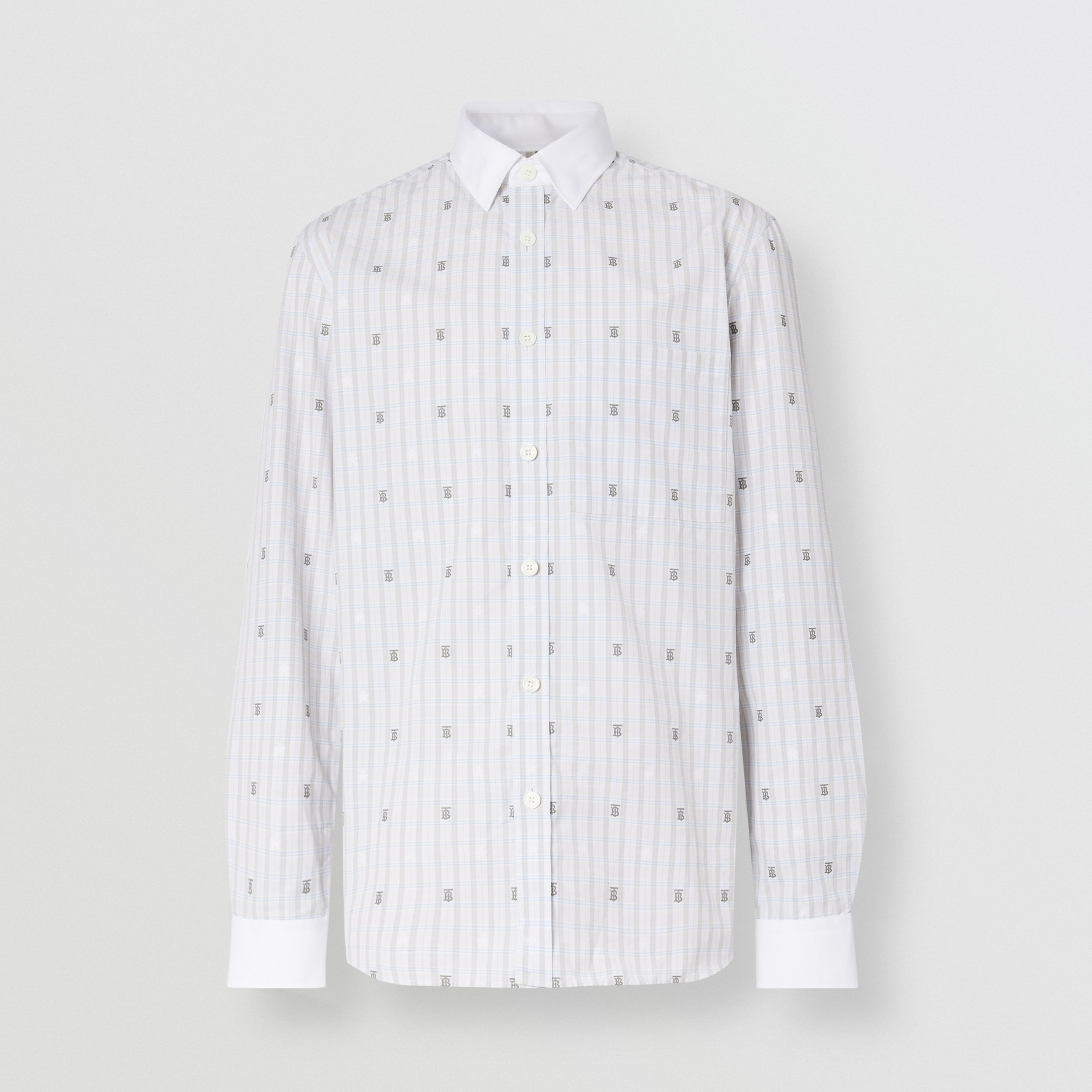 Slim Fit Star and Monogram Motif Check Cotton Shirt in Light Grey - Men | Burberry - 4