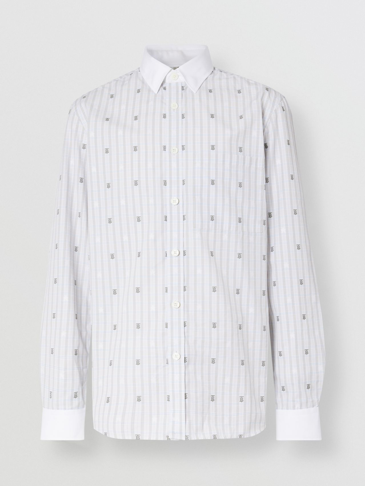 Slim Fit Star and Monogram Motif Check Cotton Shirt in Light Grey