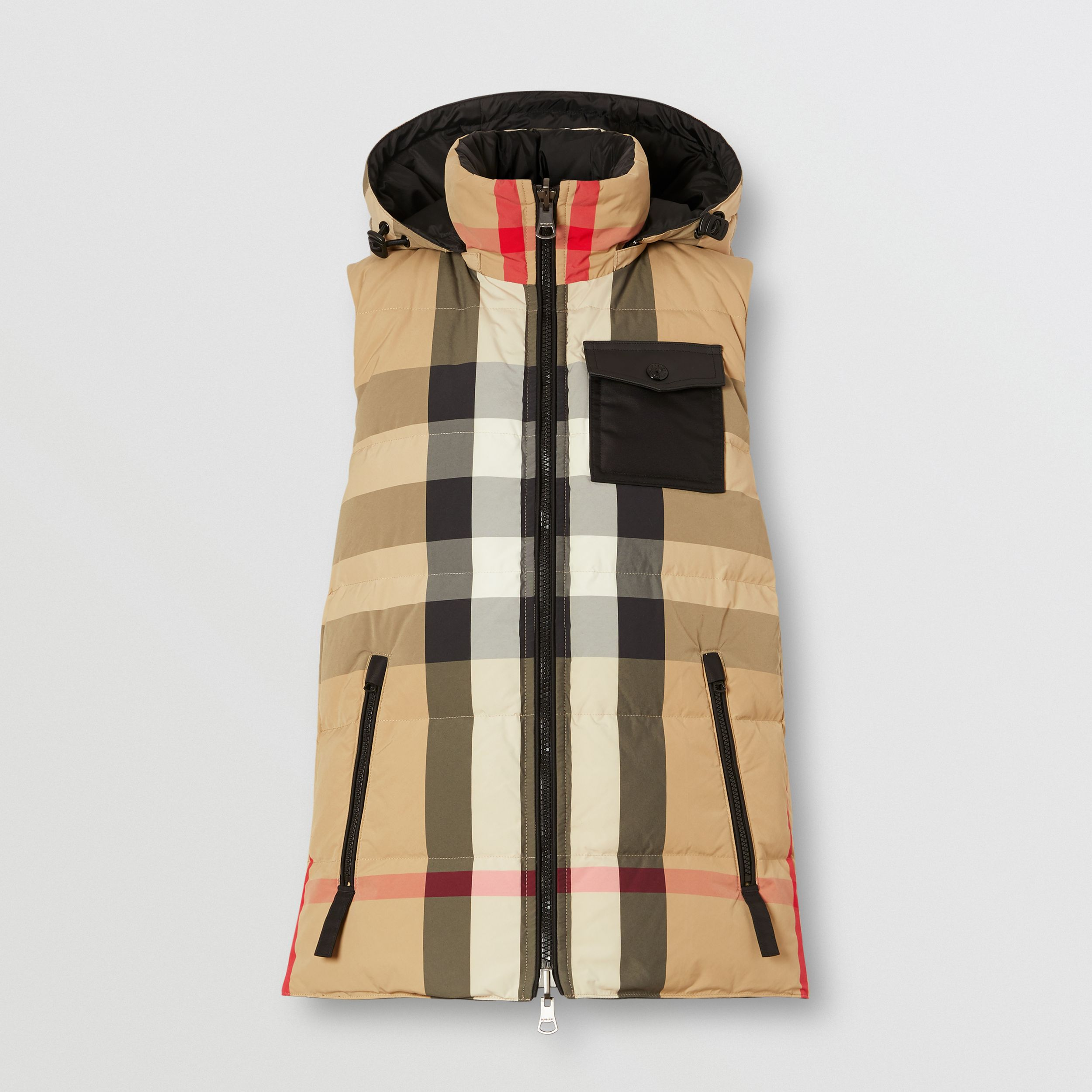 Reversible Recycled Nylon Re:Down® Puffer Gilet in Archive Beige - Women | Burberry United States - 4