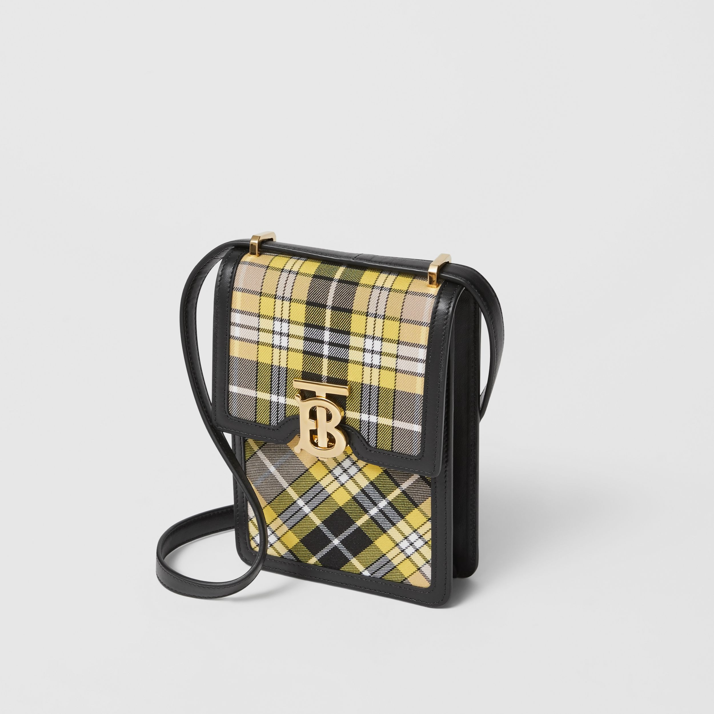 Tartan Cotton and Leather Robin Bag in Marigold Yellow - Women | Burberry - 4