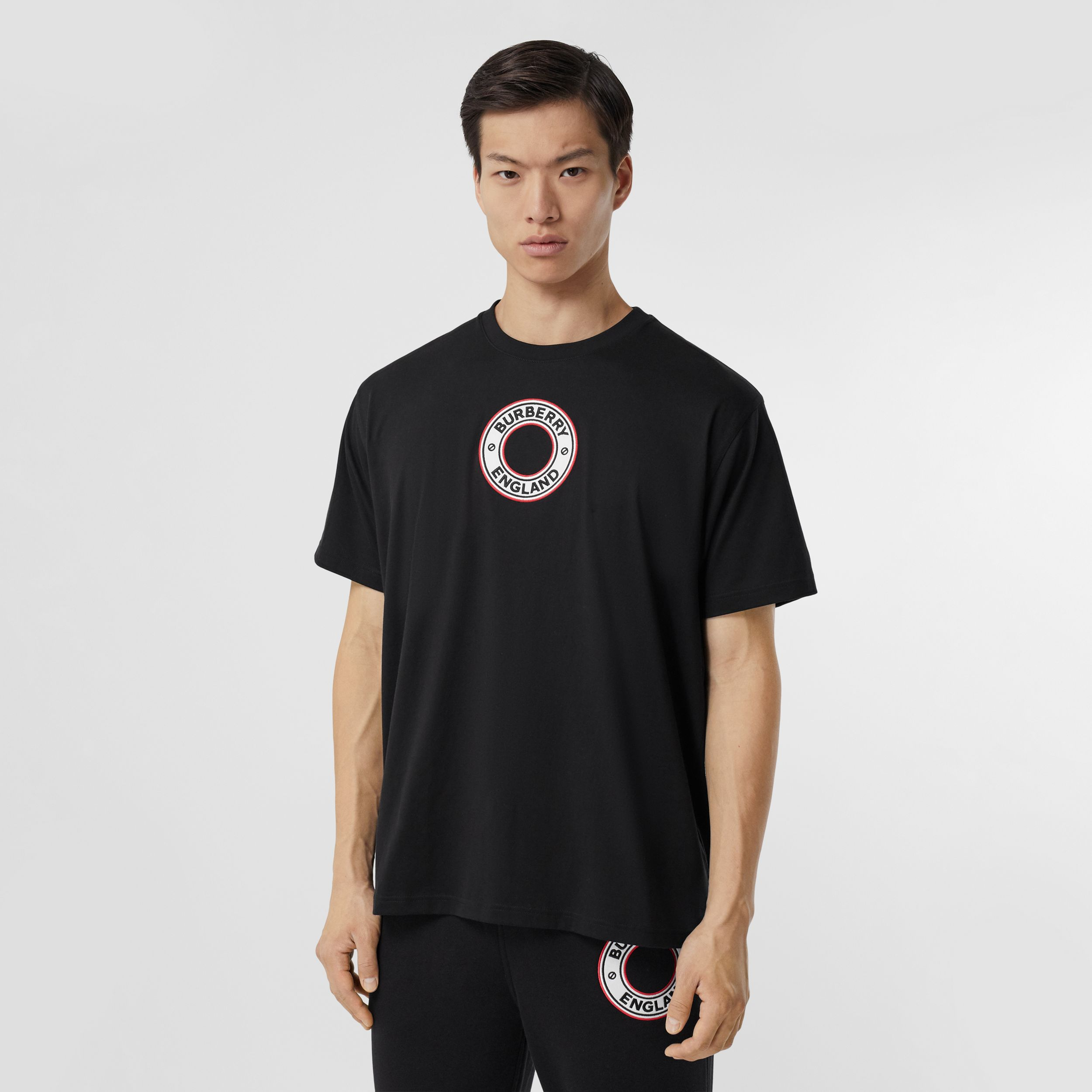 Logo Graphic Appliqué Cotton Oversized T-shirt in Black - Men | Burberry - 1