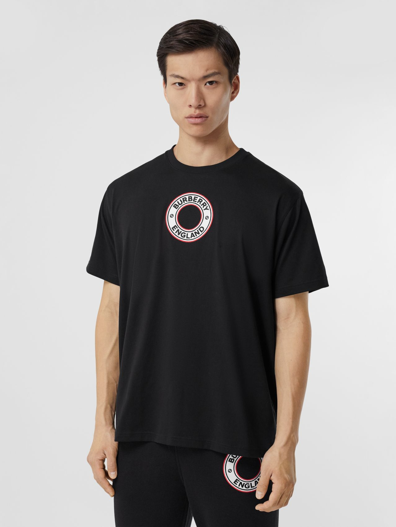 Logo Graphic Appliqué Cotton Oversized T-shirt in Black