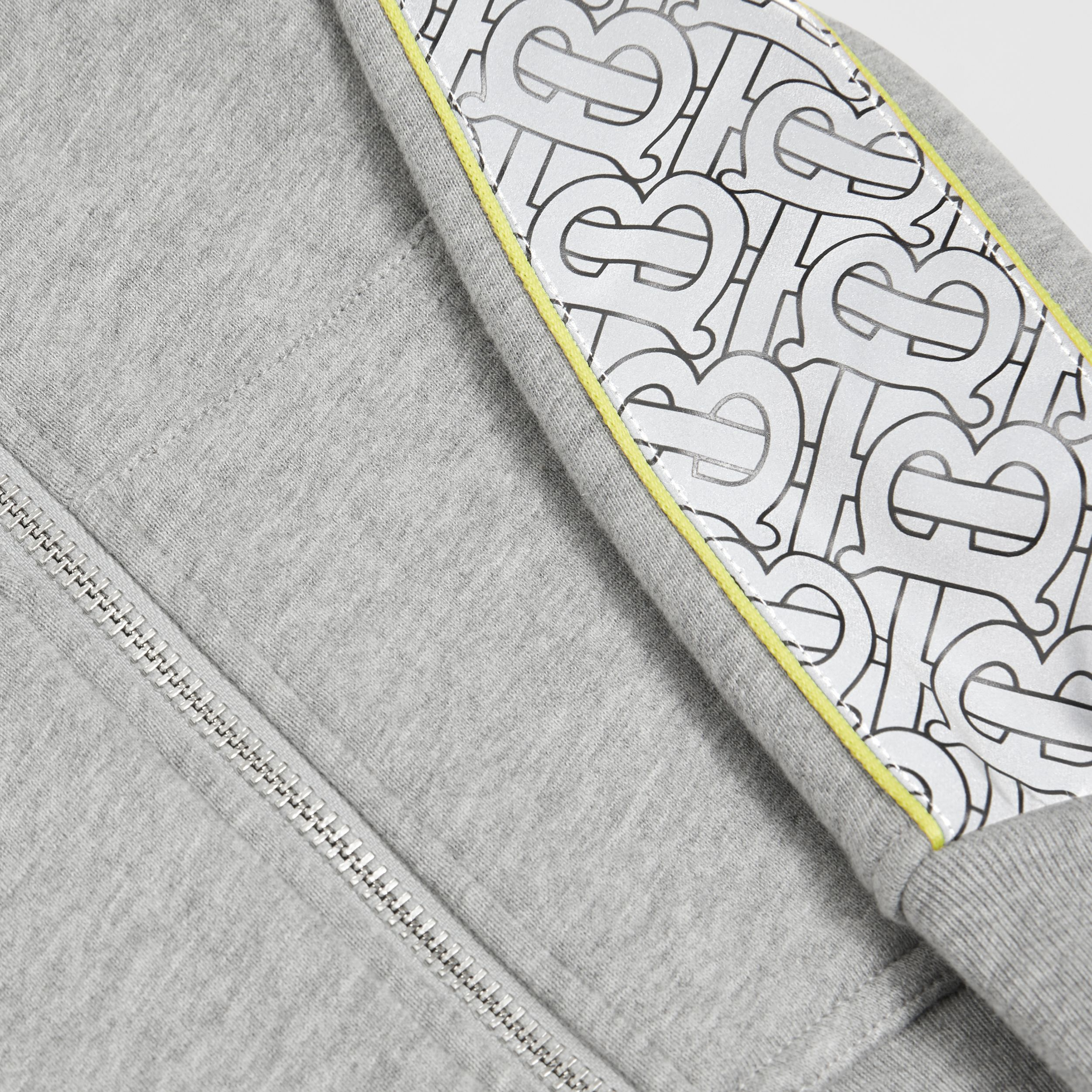 Monogram Print Panel Cotton Hooded Top in Grey Melange - Children | Burberry - 2