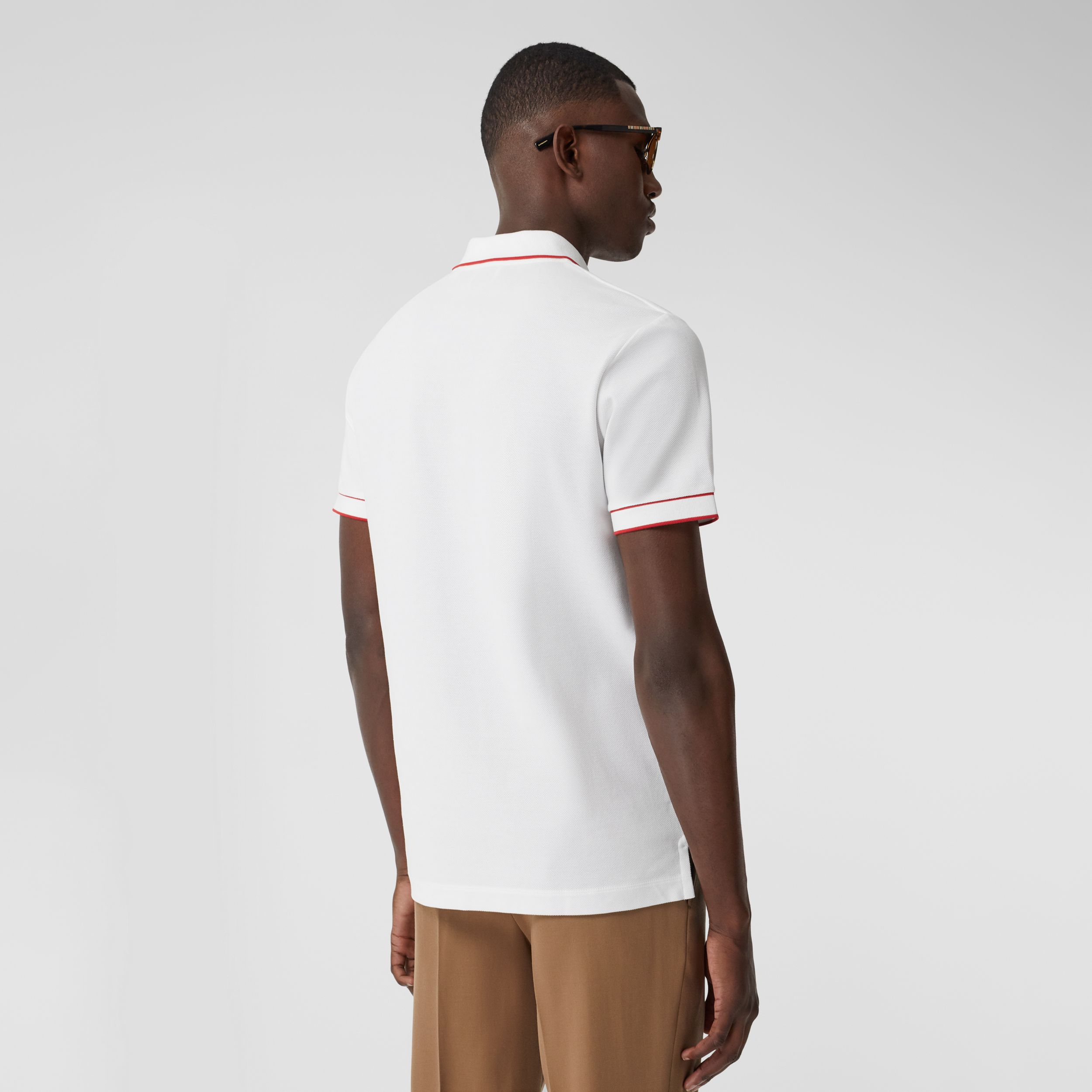 Icon Stripe Detail Cotton Zip-front Polo Shirt in White - Men | Burberry United Kingdom - 3
