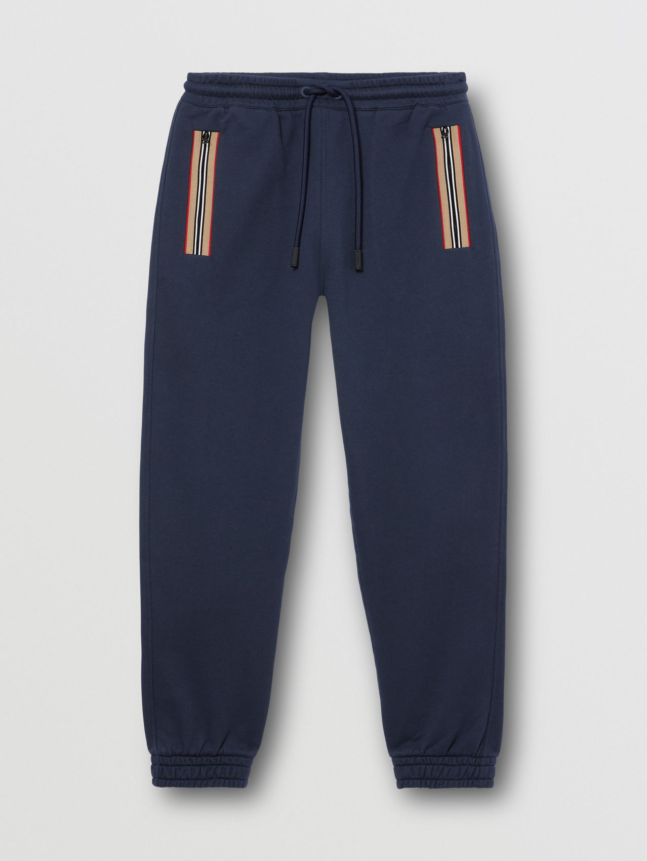 Icon Stripe Detail Cotton Jogging Pants in Navy