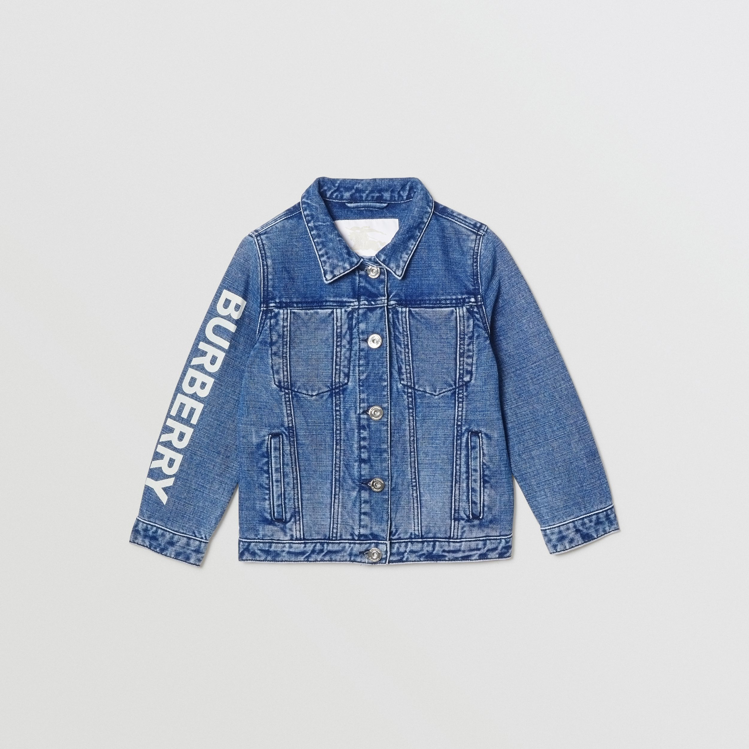 Logo Print Japanese Denim Jacket in Indigo | Burberry - 1