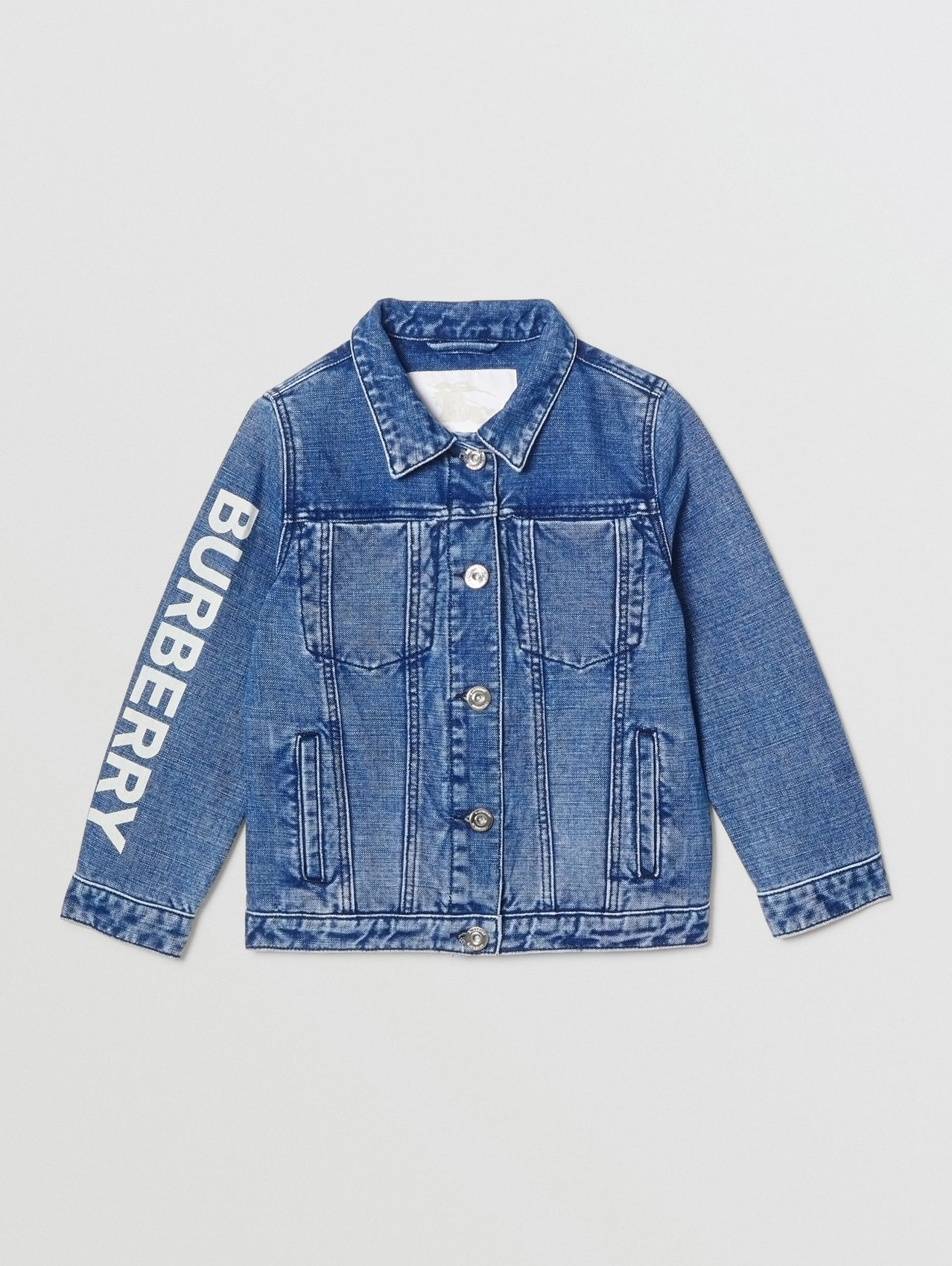 Logo Print Japanese Denim Jacket in Indigo
