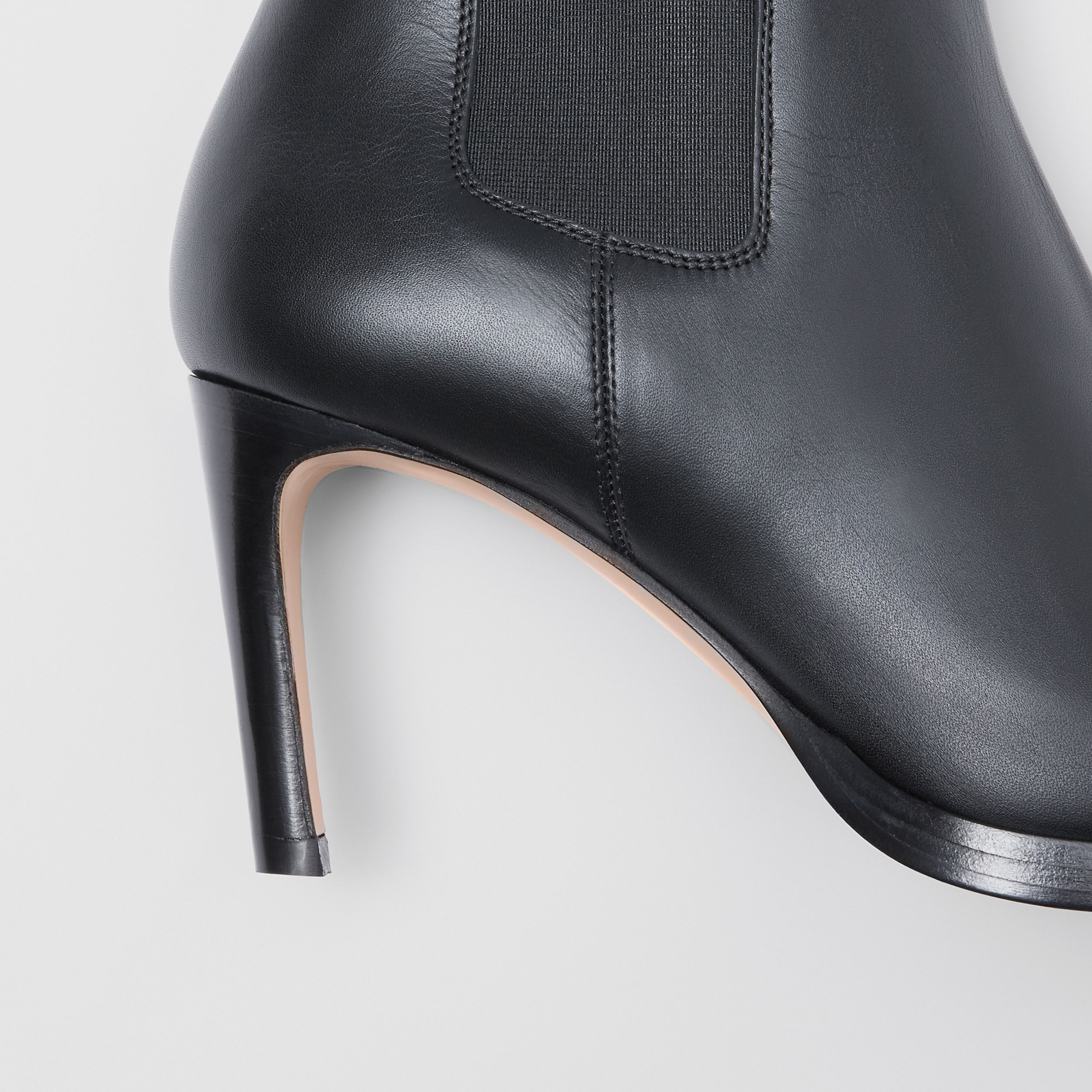 Icon Stripe Detail Leather Ankle Boots in Black - Women | Burberry - 2