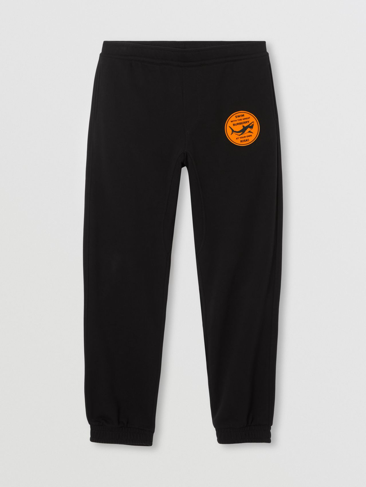 Shark Graphic Appliqué Cotton Jogging Pants in Black