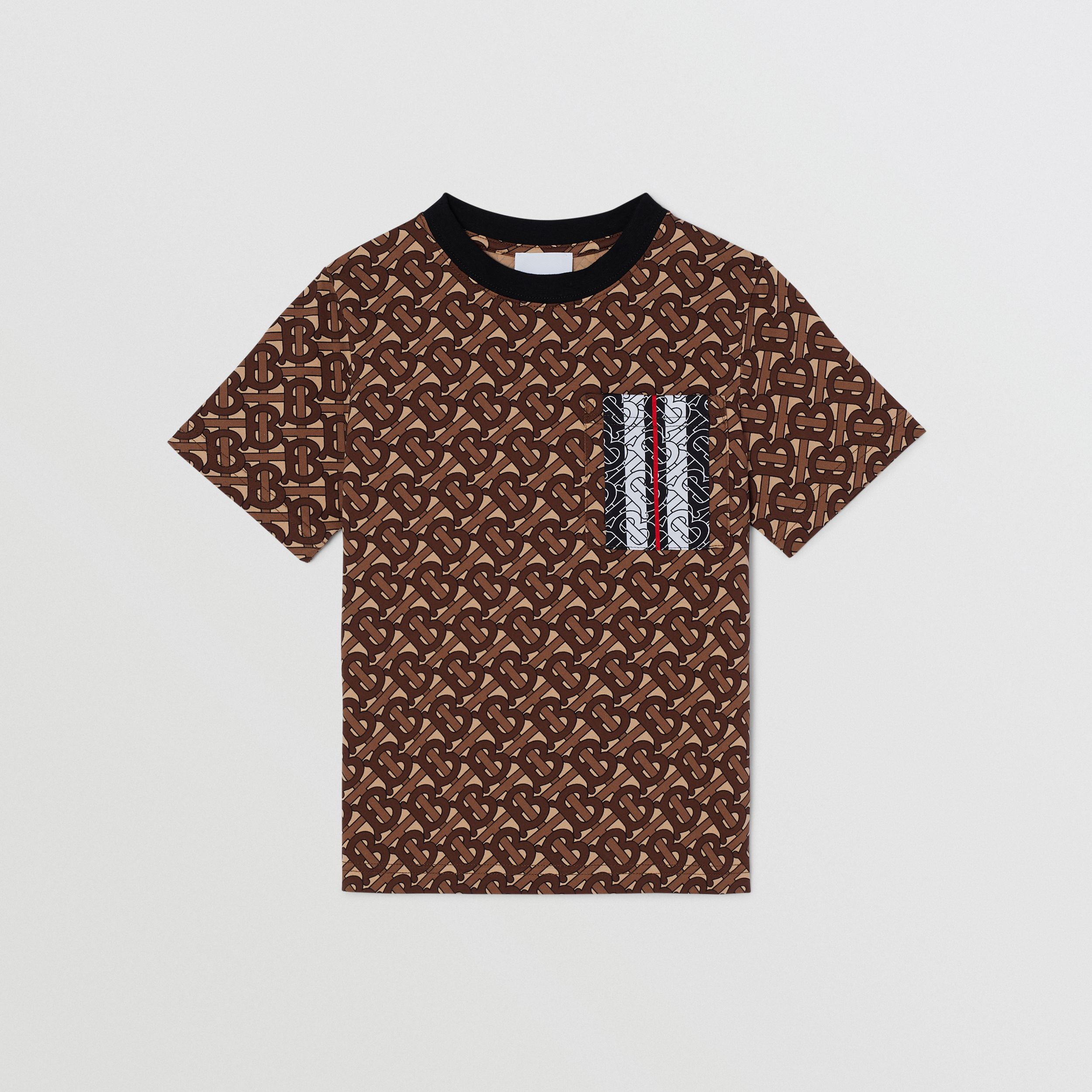 Monogram Stripe Print Cotton T-shirt in Bridle Brown | Burberry - 1