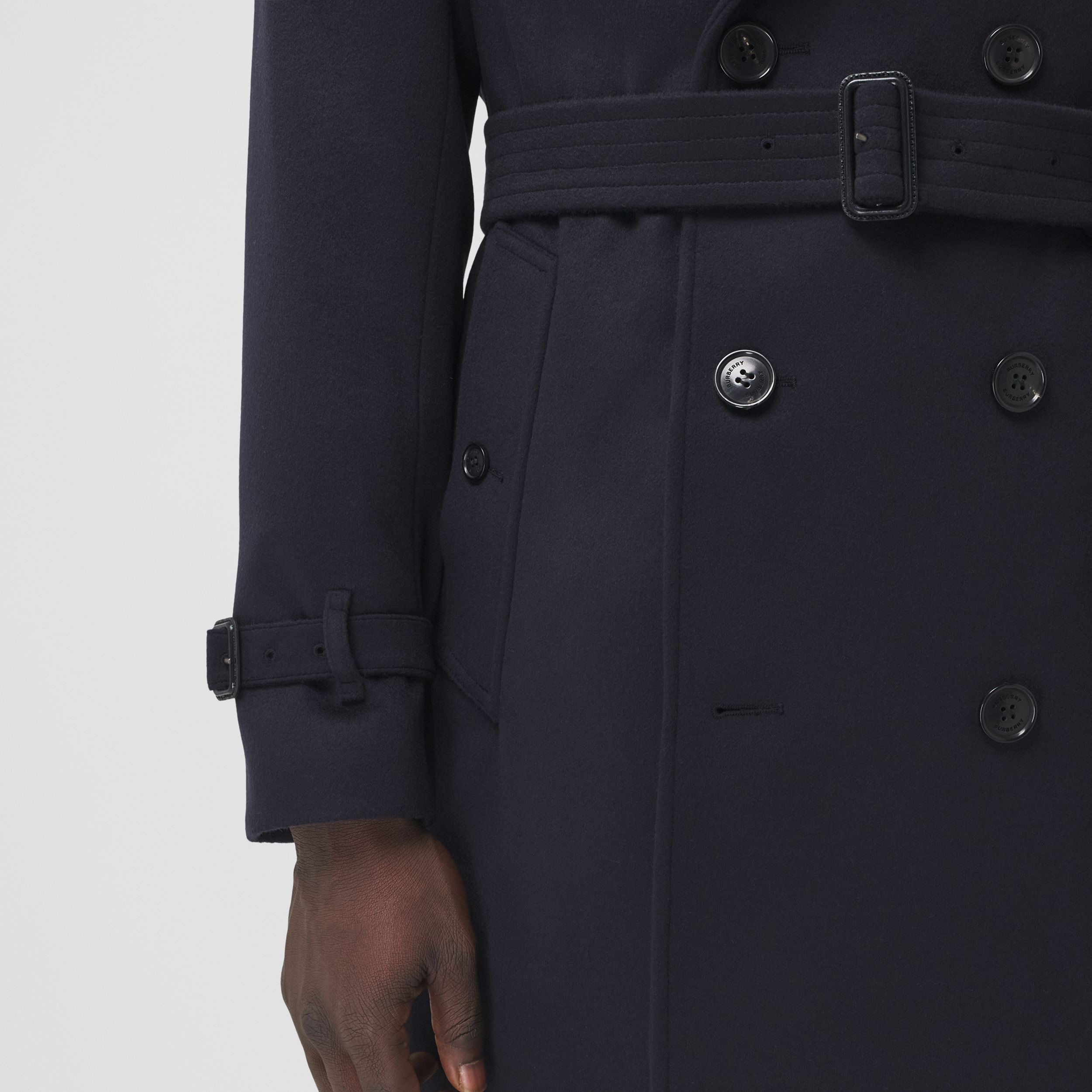 Wool Cashmere Trench Coat in Navy - Men | Burberry Canada - 4